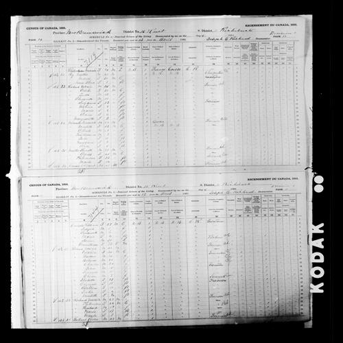 Digitized page of Census of Canada, 1891, Page number 10-11, for Frederick Miranda