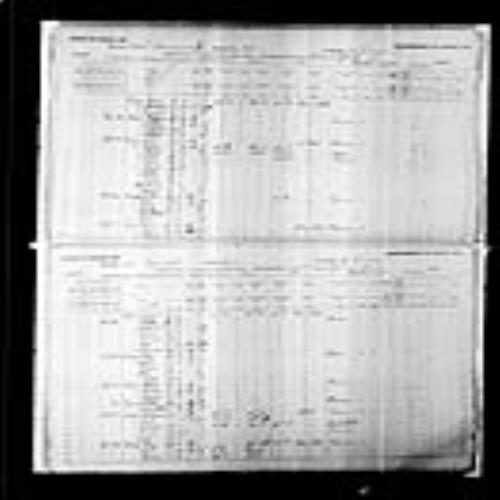 Digitized page of Census of Canada, 1891, Page number 12-13, for Thadde Legere