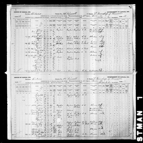 Digitized page of Census of Canada, 1891, Page number 12-13, for Phillip Barnes