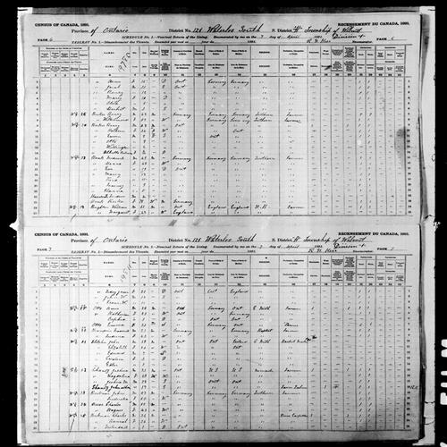 Digitized page of Census of Canada, 1891, Page number 6-7, for Frederick Honk