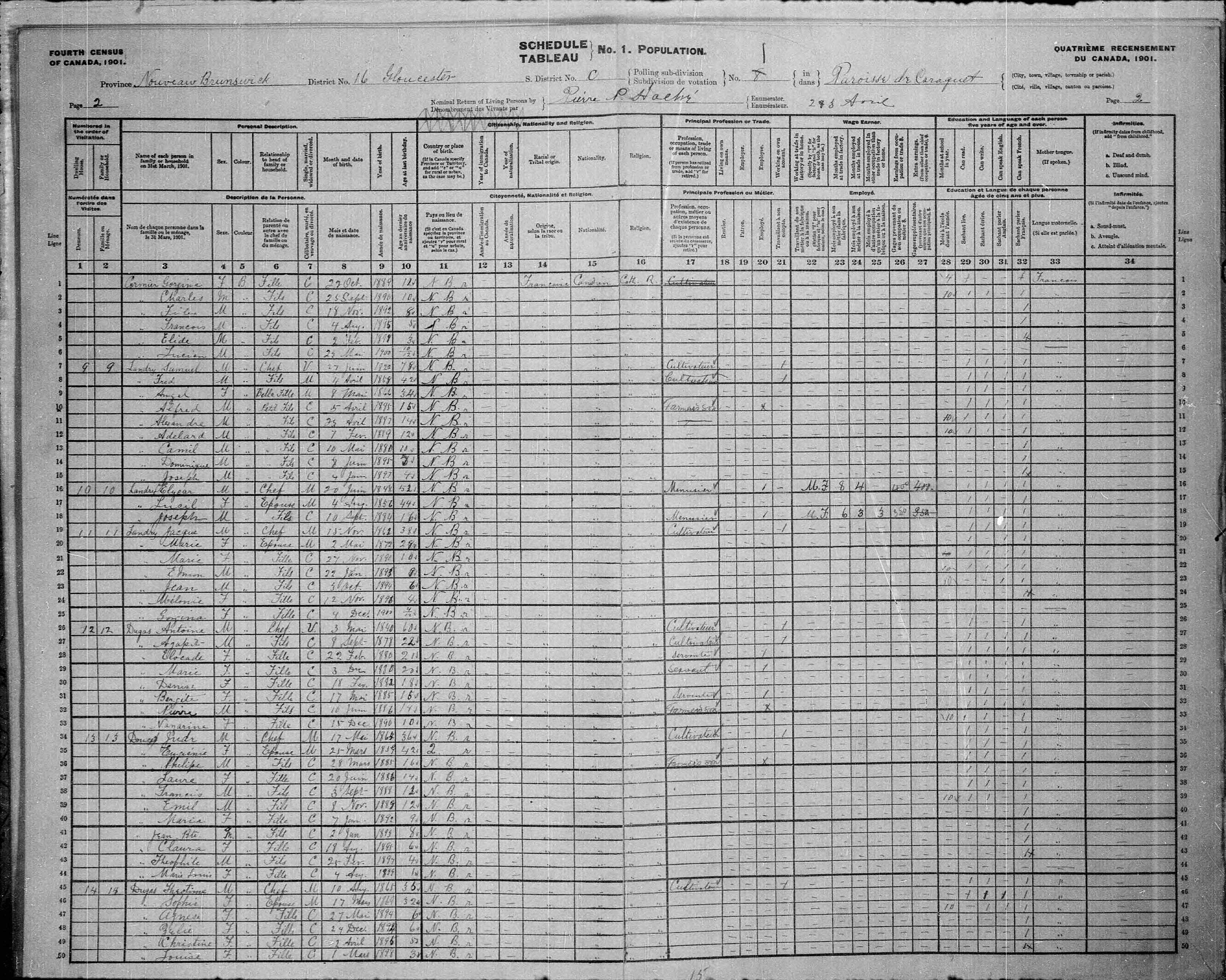 Digitized page of Census of Canada, 1901, Page number 2, for Theotime Dugas