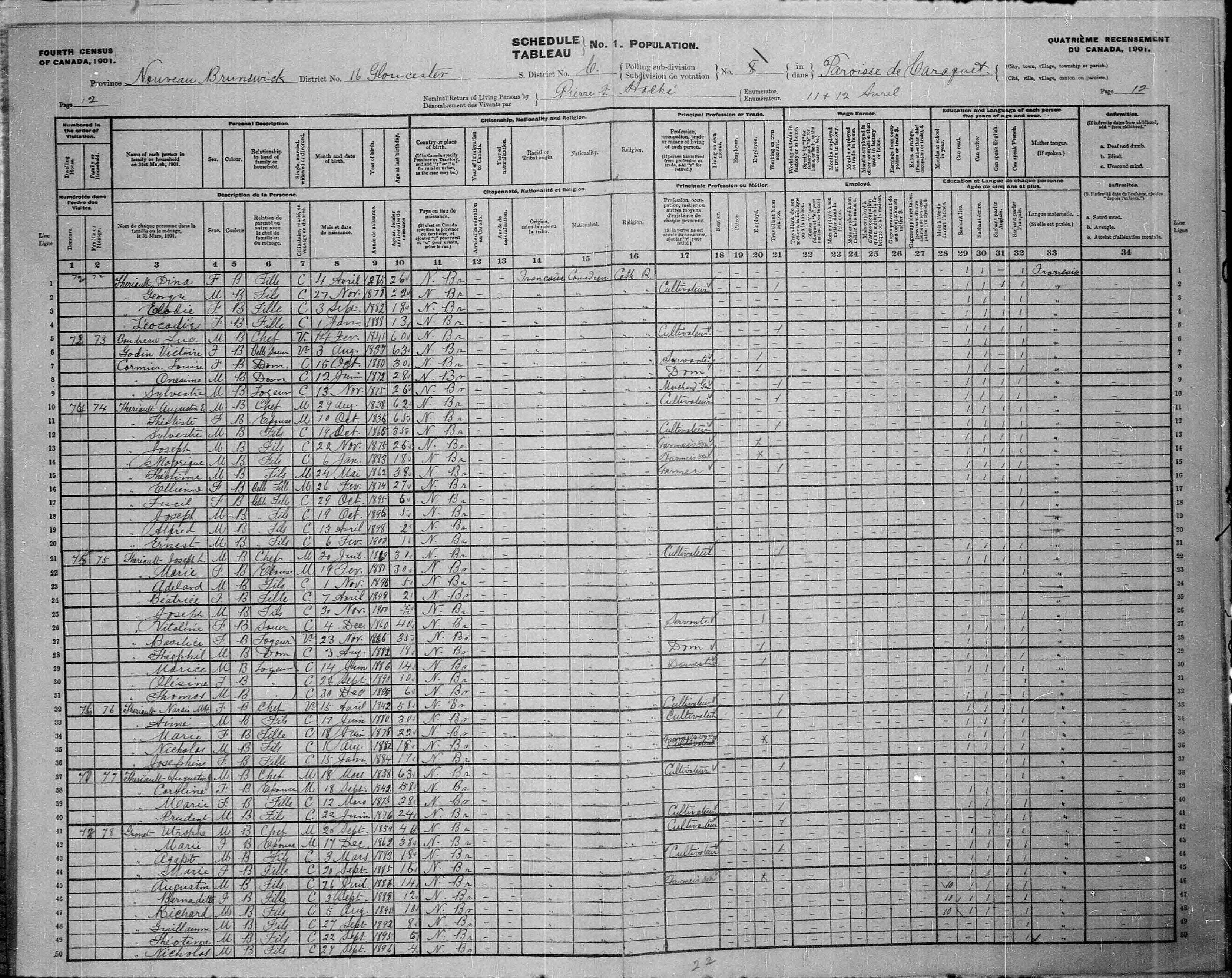 Digitized page of Census of Canada, 1901, Page number 12, for Utrophe Gionet