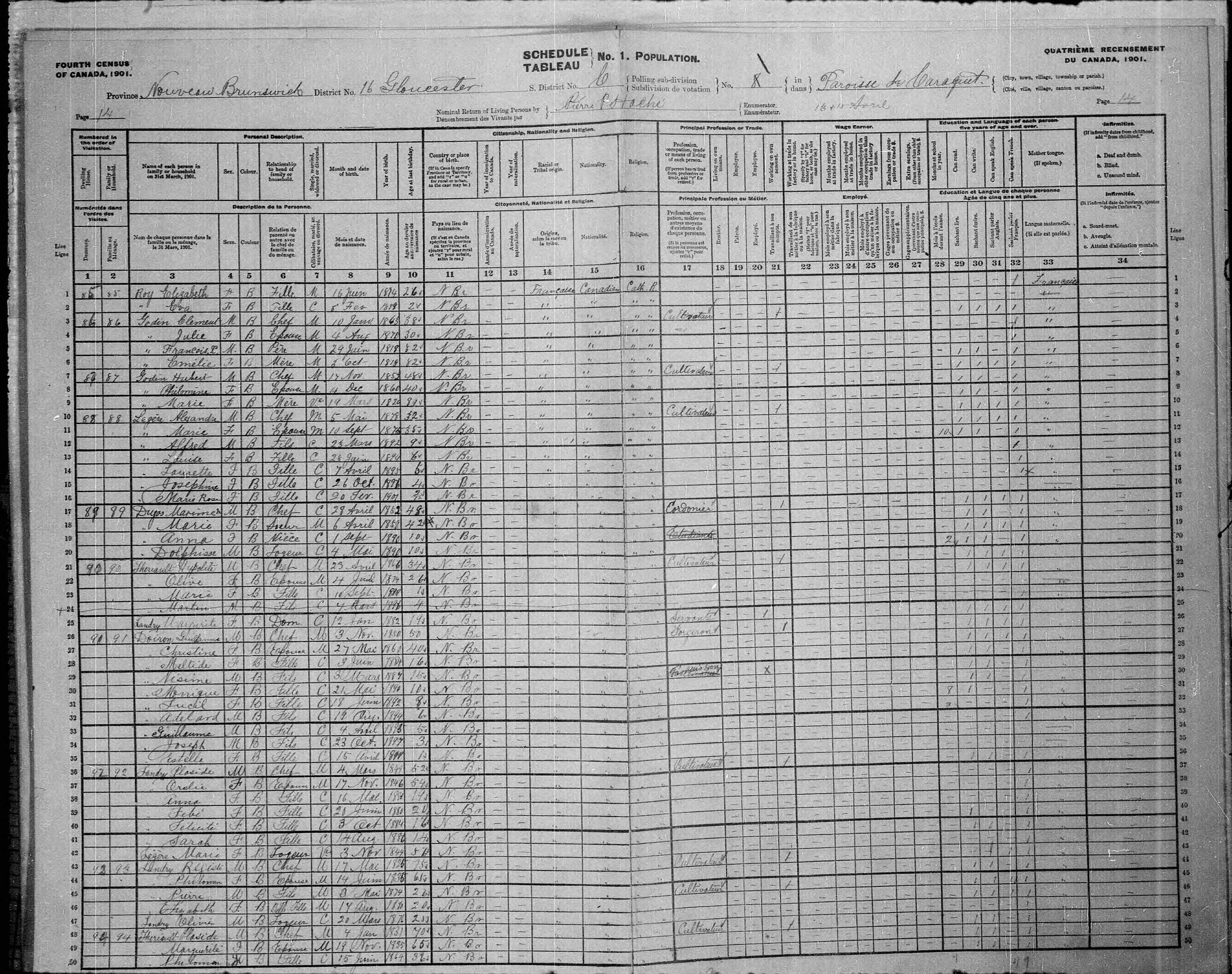 Digitized page of Census of Canada, 1901, Page number 14, for Alexandre Legére