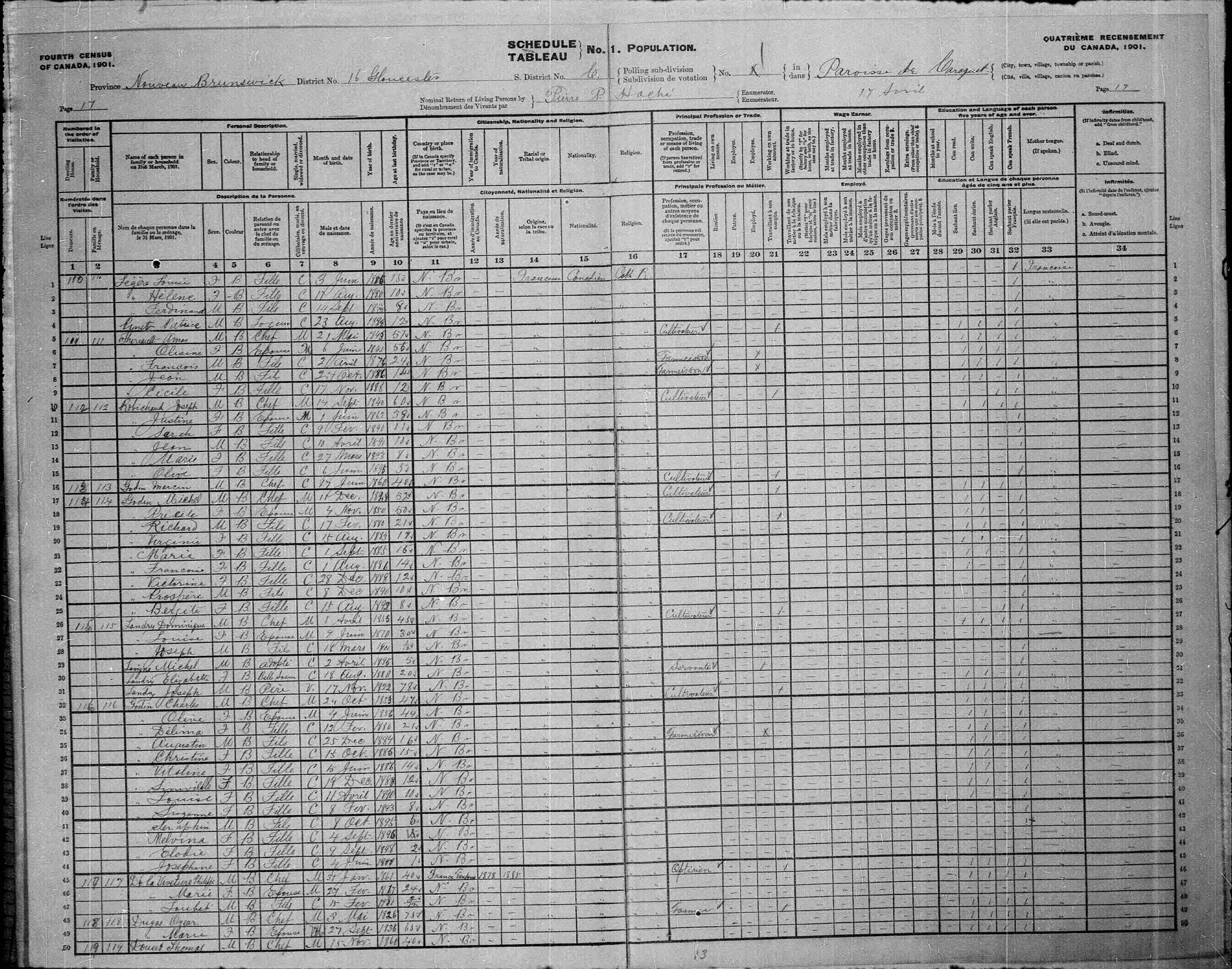 Digitized page of Census of Canada, 1901, Page number 17, for Charles Godin