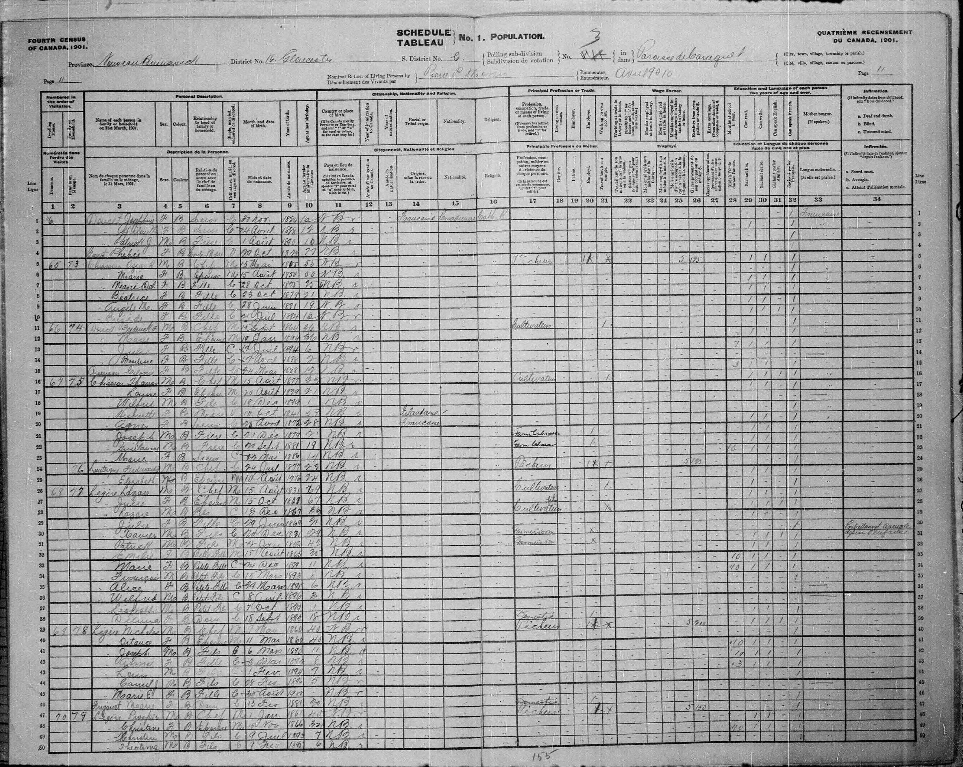 Digitized page of Census of Canada, 1901, Page number 11, for Lazare Légère