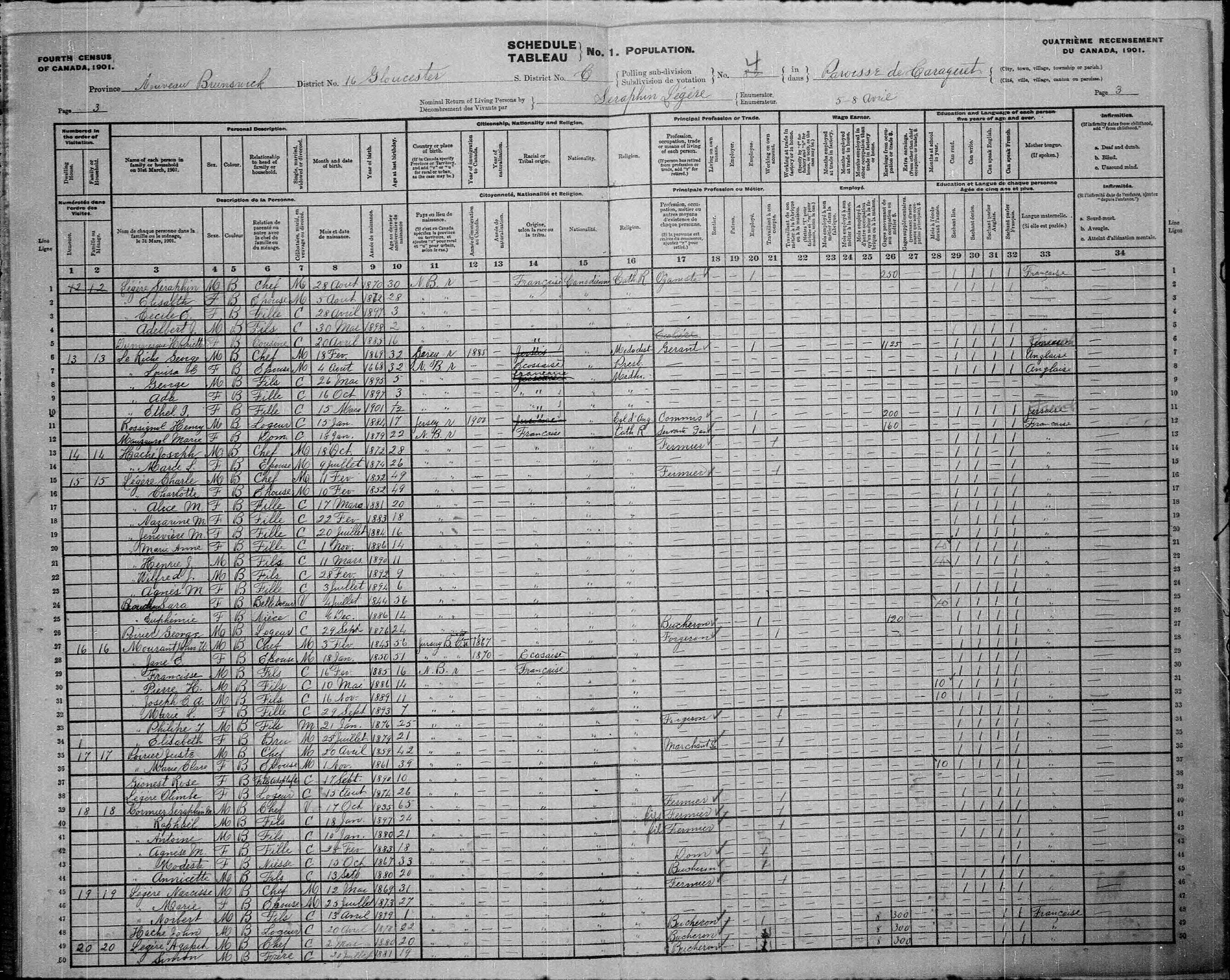 Digitized page of Census of Canada, 1901, Page number 3, for Charle Légère