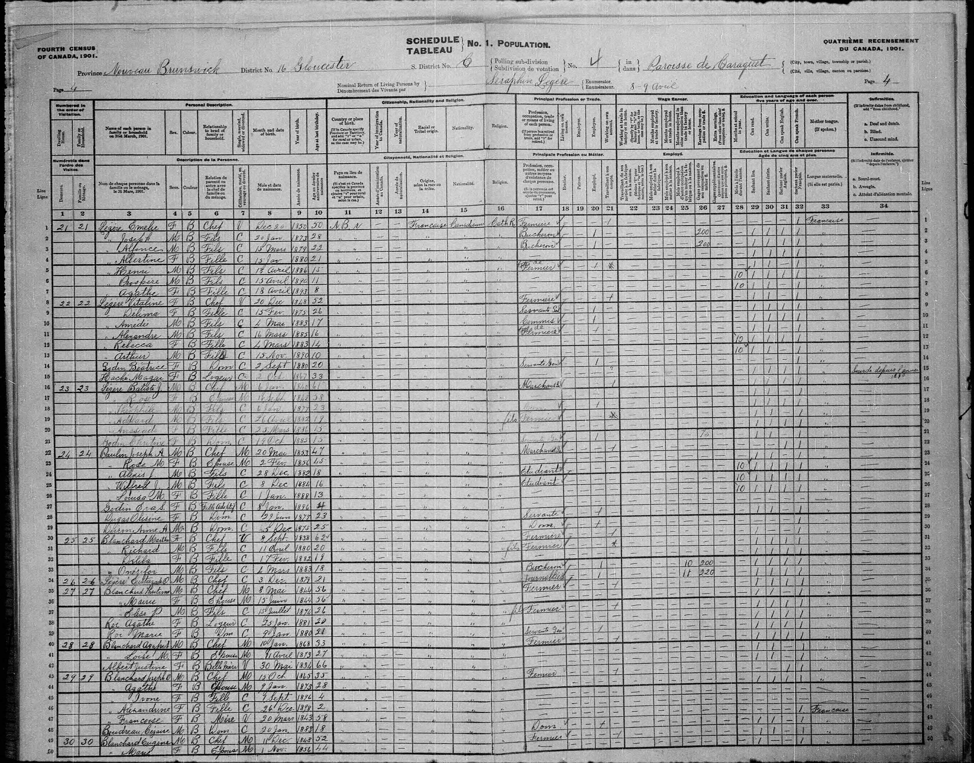 Digitized page of Census of Canada, 1901, Page number 4, for Emelie Légère