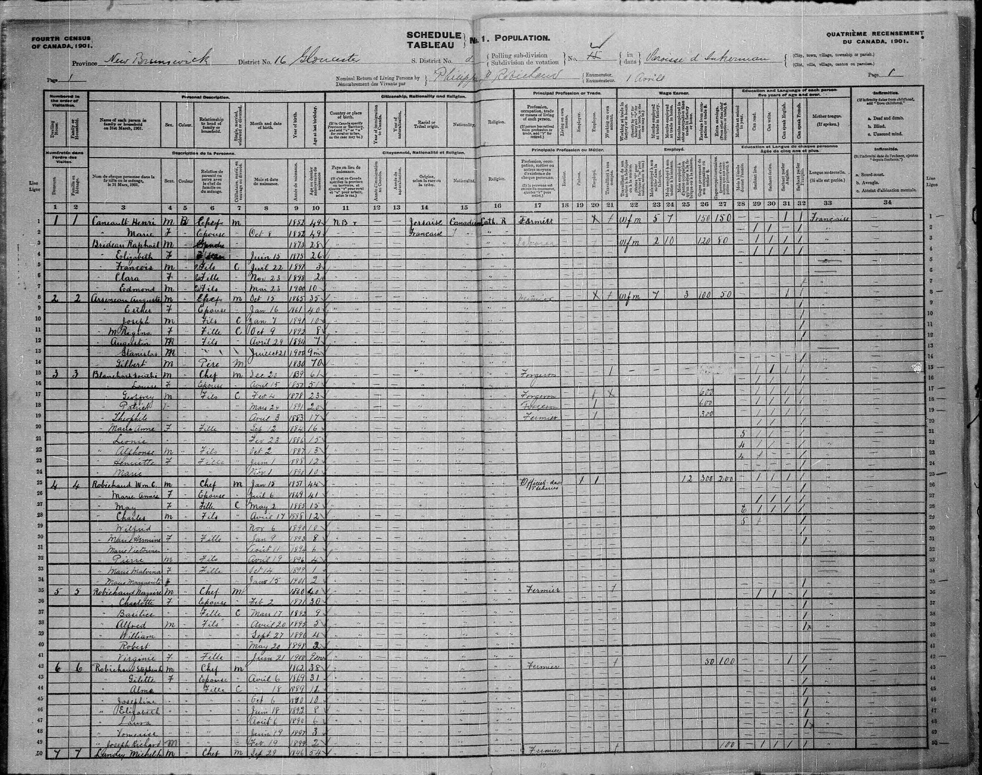 Digitized page of Census of Canada, 1901, Page number 1, for Dorithé Blanchard