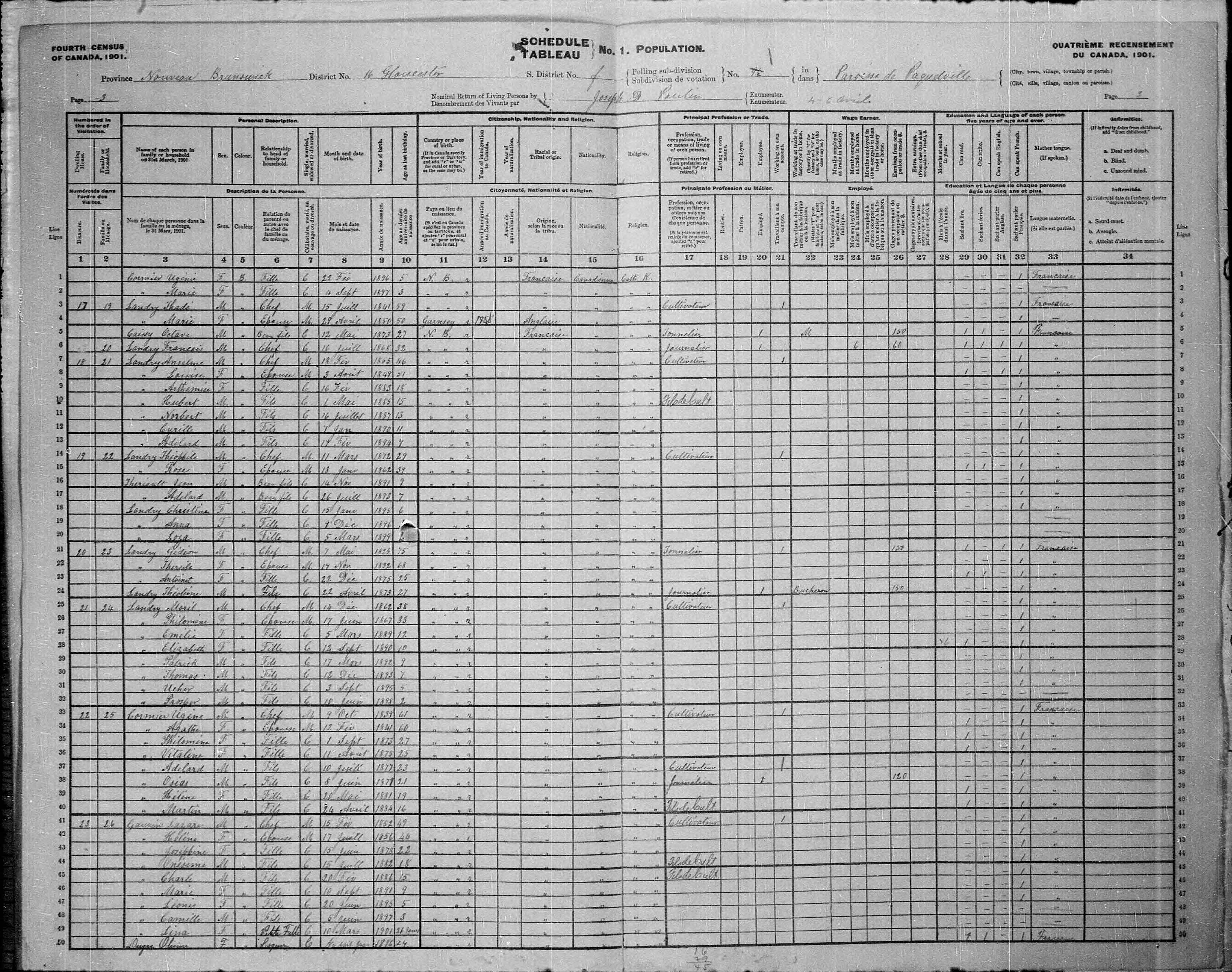 Digitized page of Census of Canada, 1901, Page number 3, for Thèoline Landry