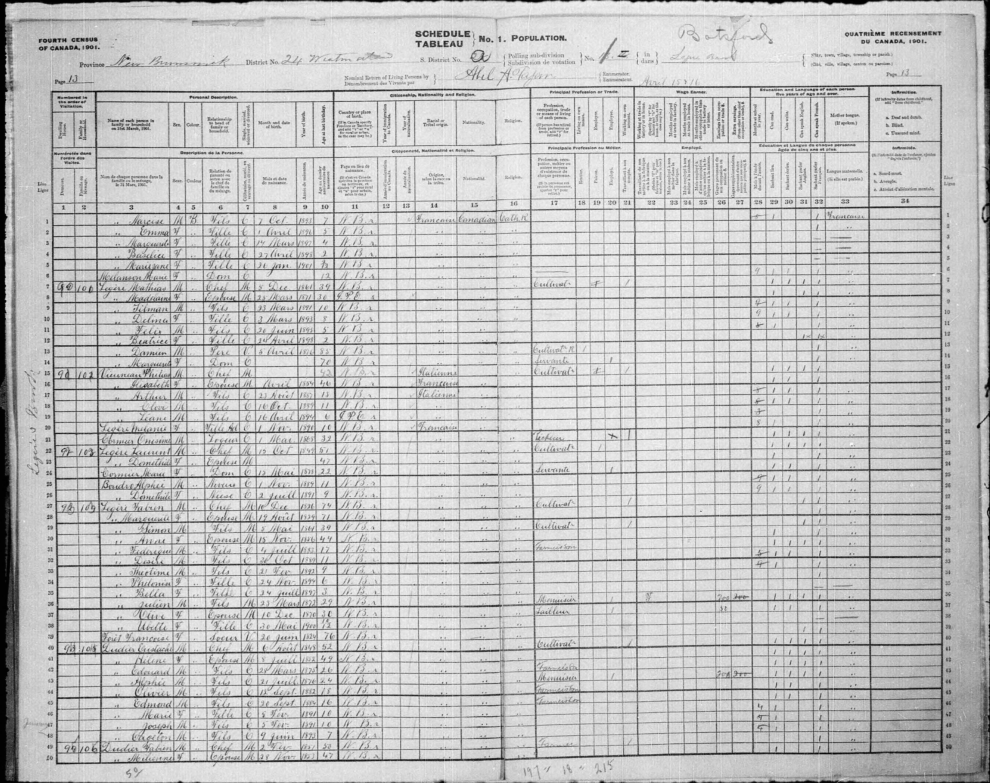 Digitized page of Census of Canada, 1901, Page number 13, for Fabien Legère