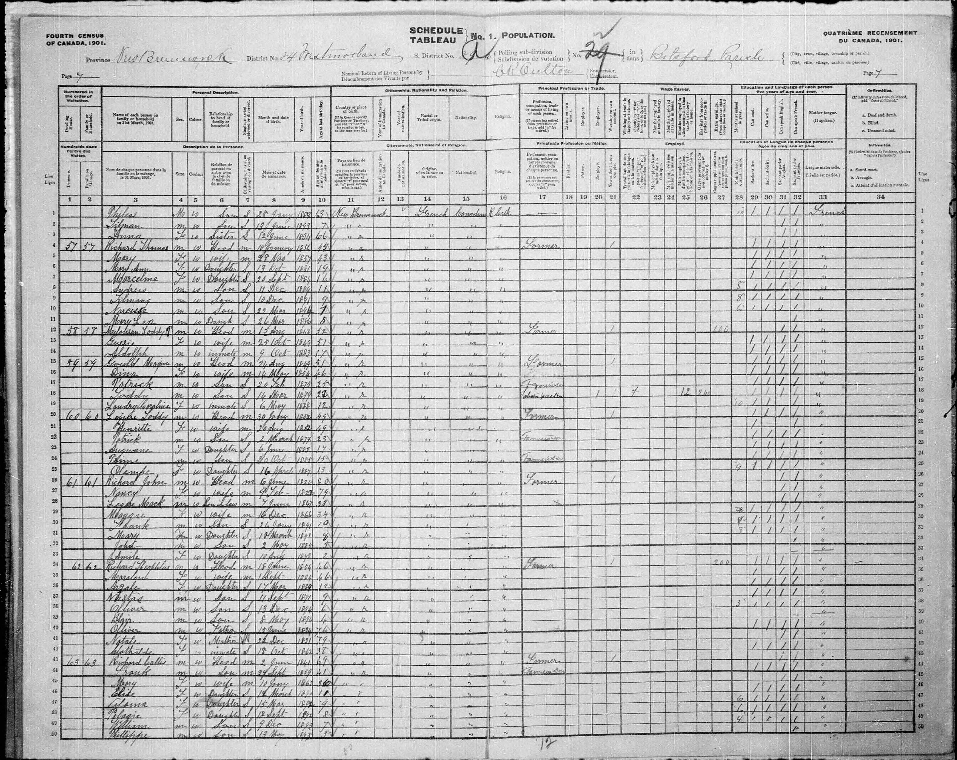 Digitized page of Census of Canada, 1901, Page number 7, for John Richard