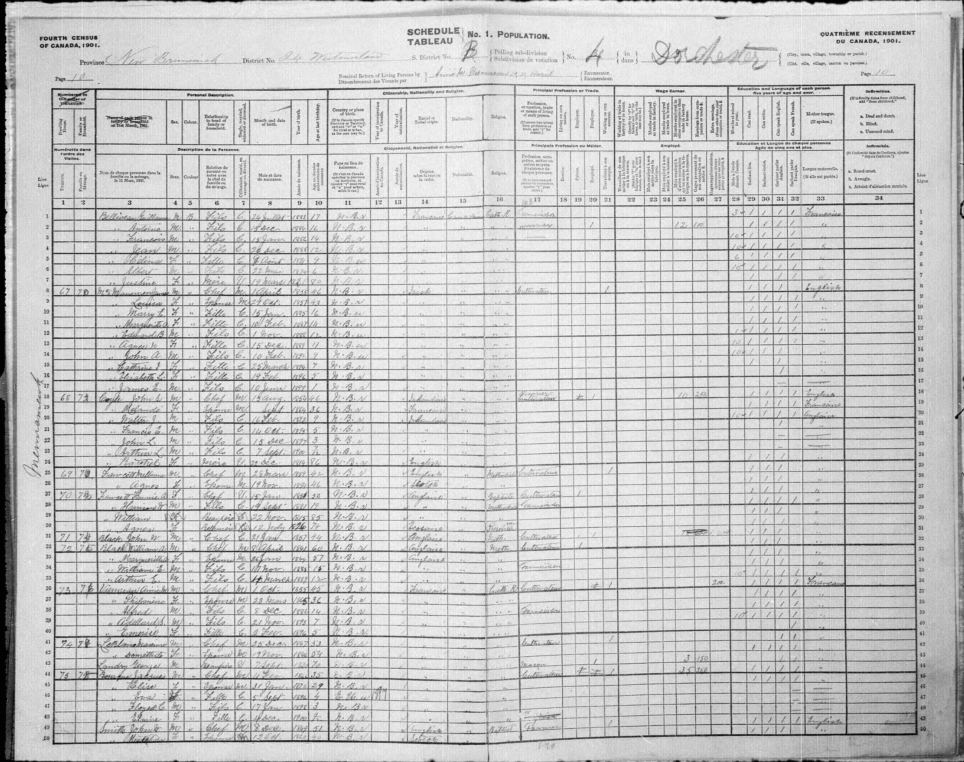 Digitized page of Census of Canada, 1901, Page number 10, for Aimé M Vienneau