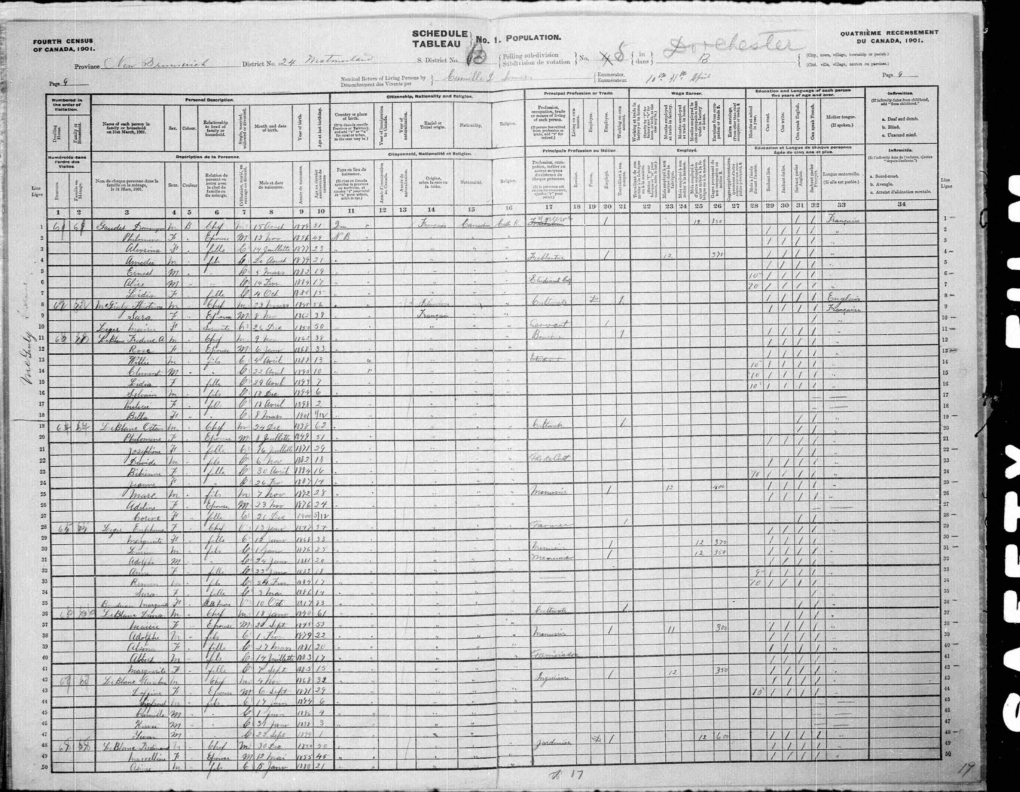 Digitized page of Census of Canada, 1901, Page number 9, for Ferdinand Leblanc