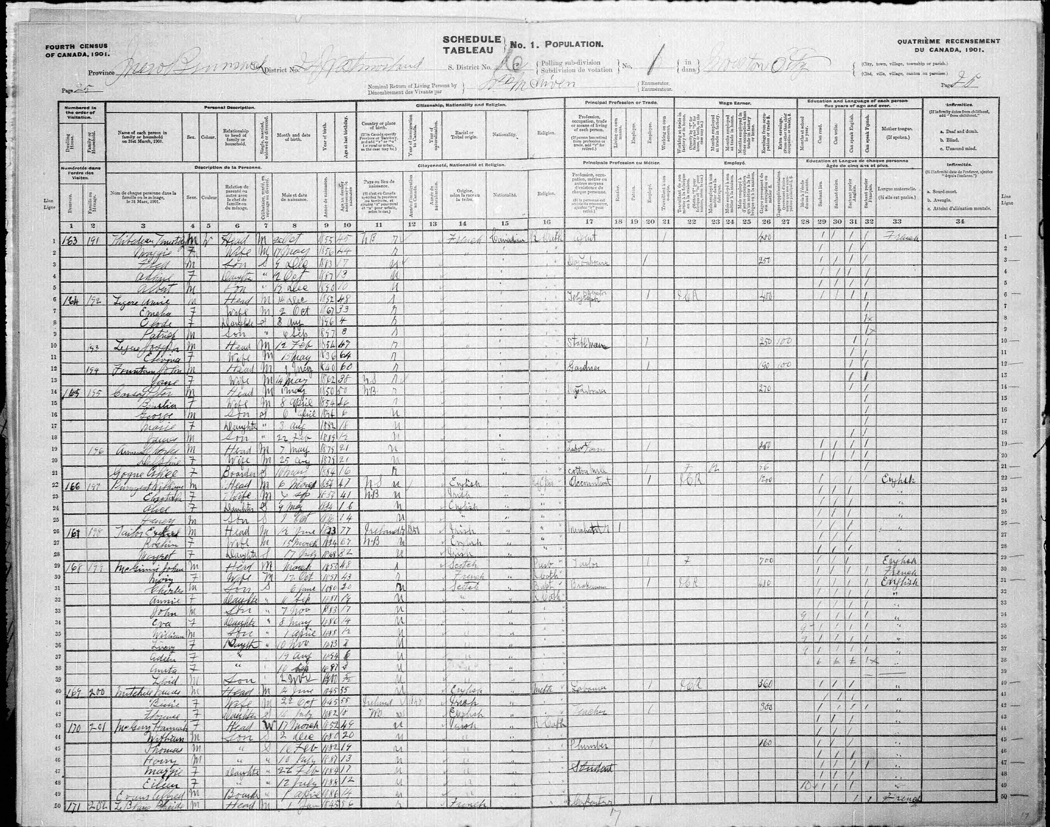 Digitized page of Census of Canada, 1901, Page number 25, for Unice Legere
