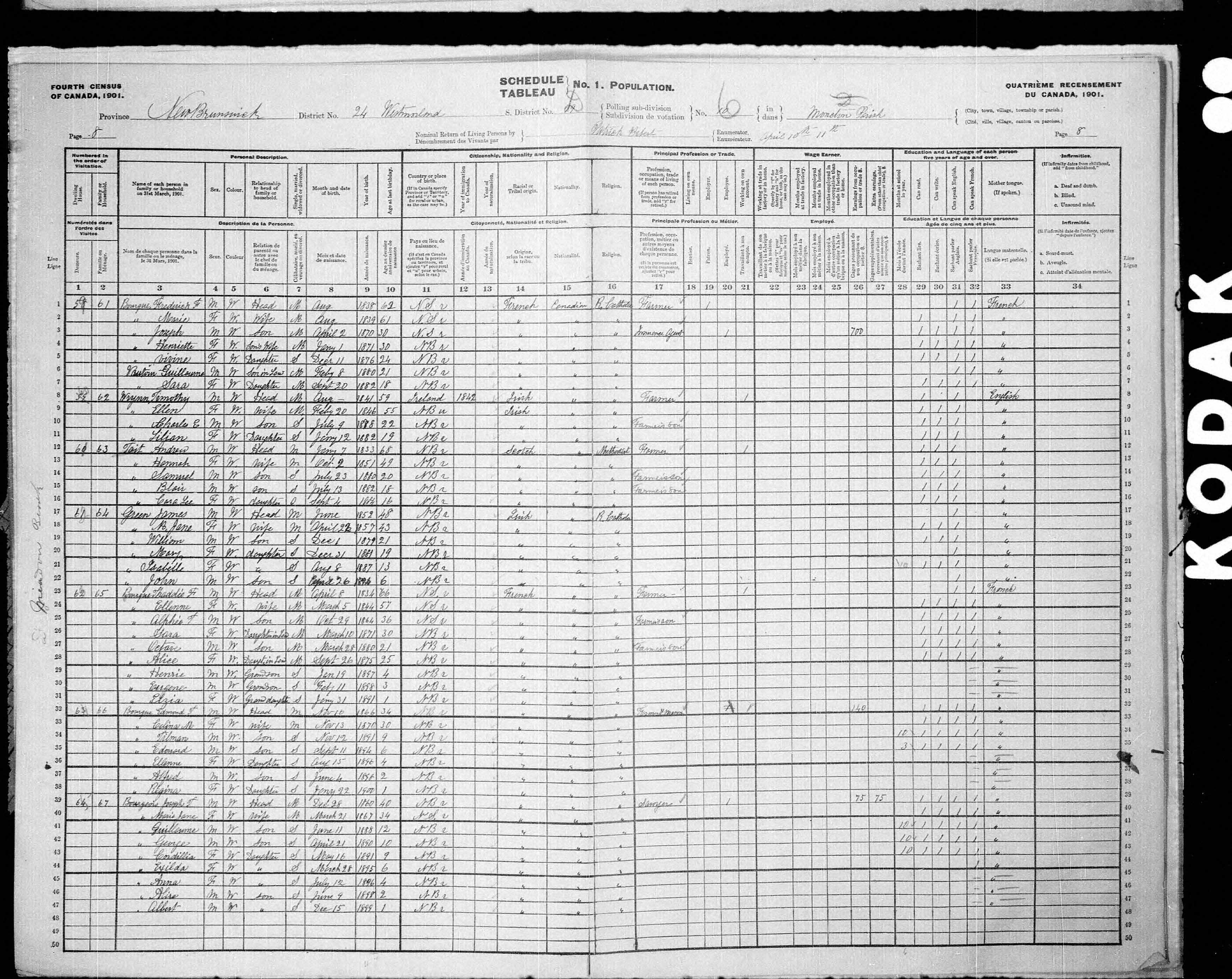 Digitized page of Census of Canada, 1901, Page number 8, for Edmond T Bourque