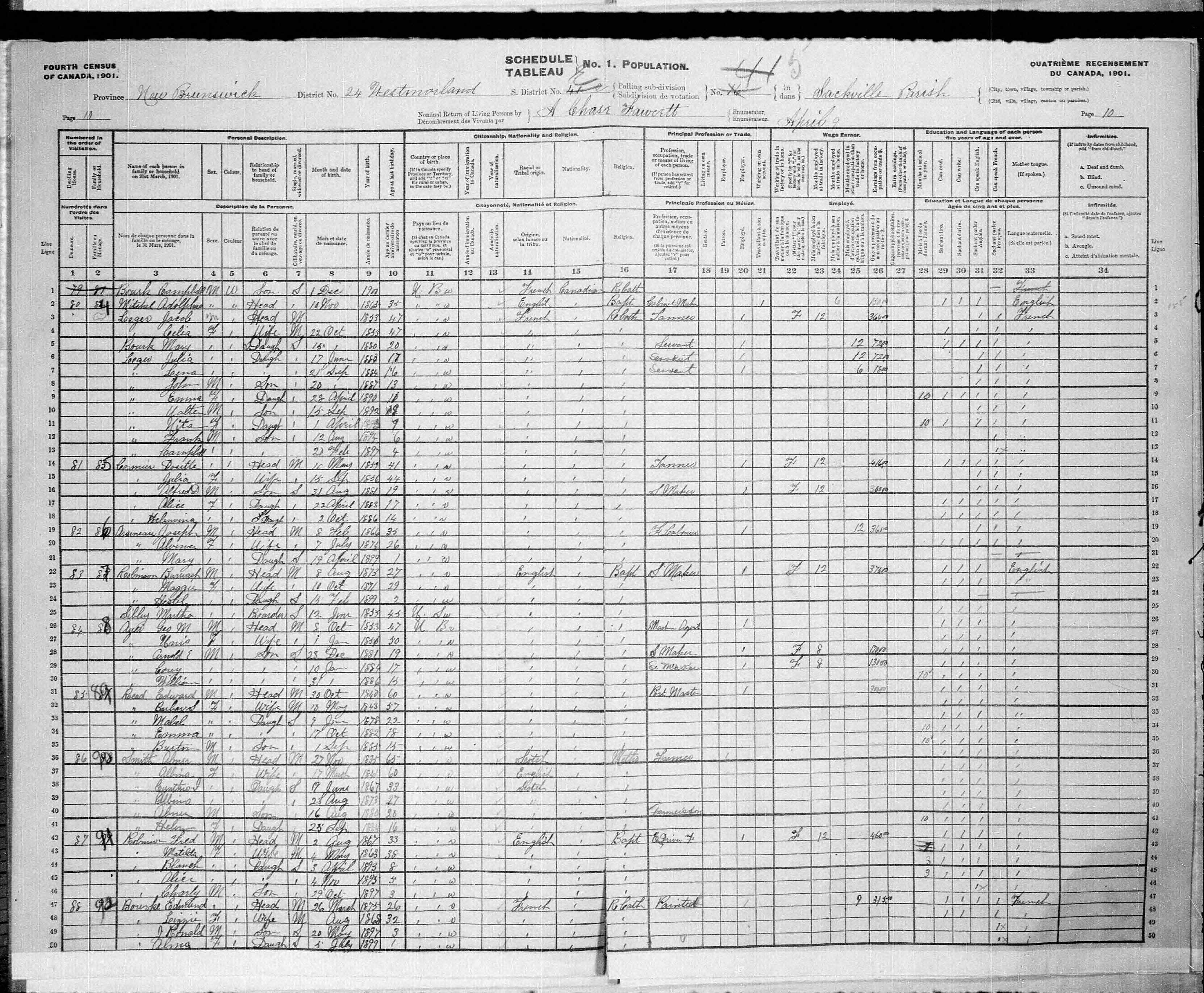 Digitized page of Census of Canada, 1901, Page number 10, for Jacob Leger