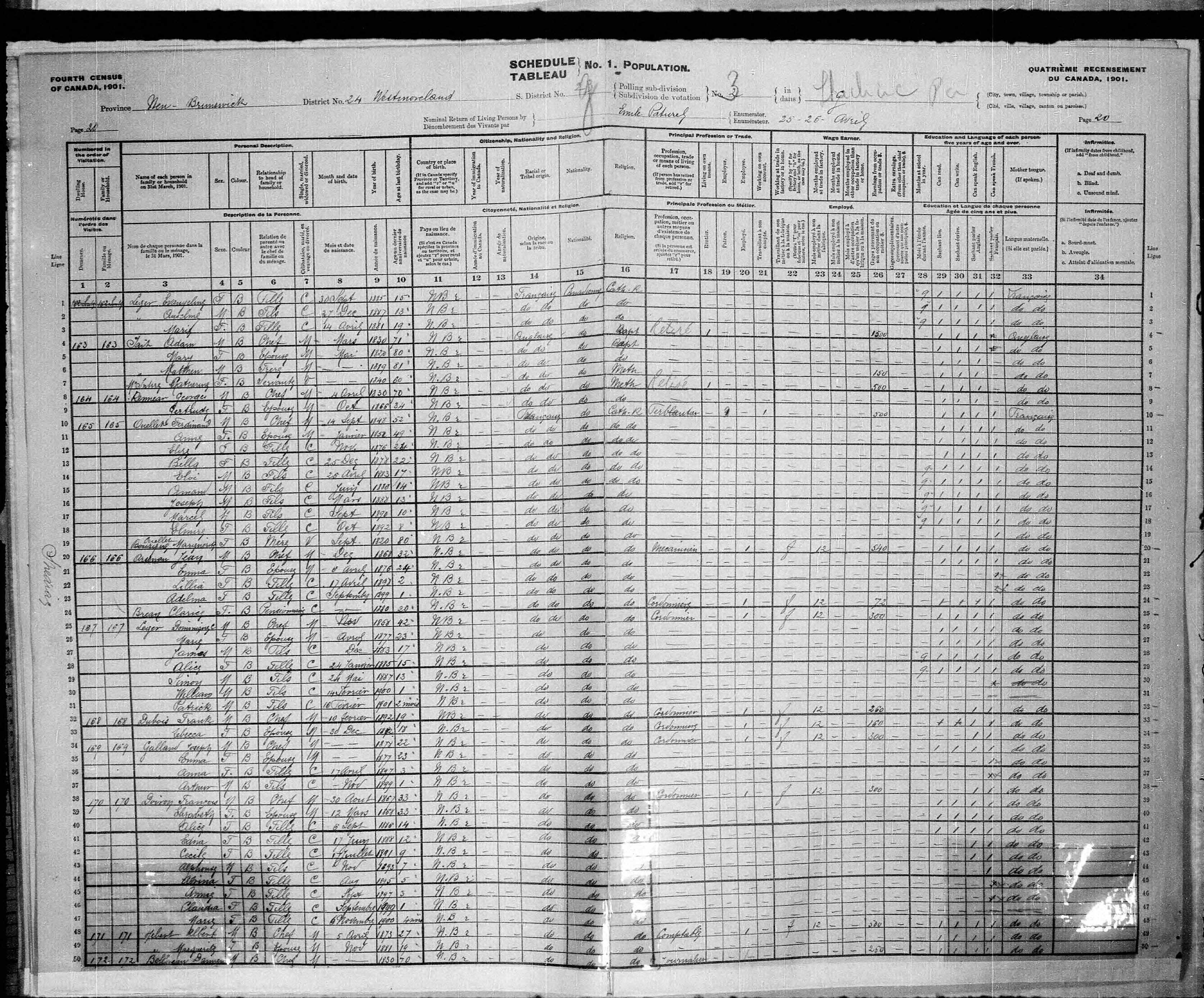 Digitized page of Census of Canada, 1901, Page number 20, for Dominique C Leger