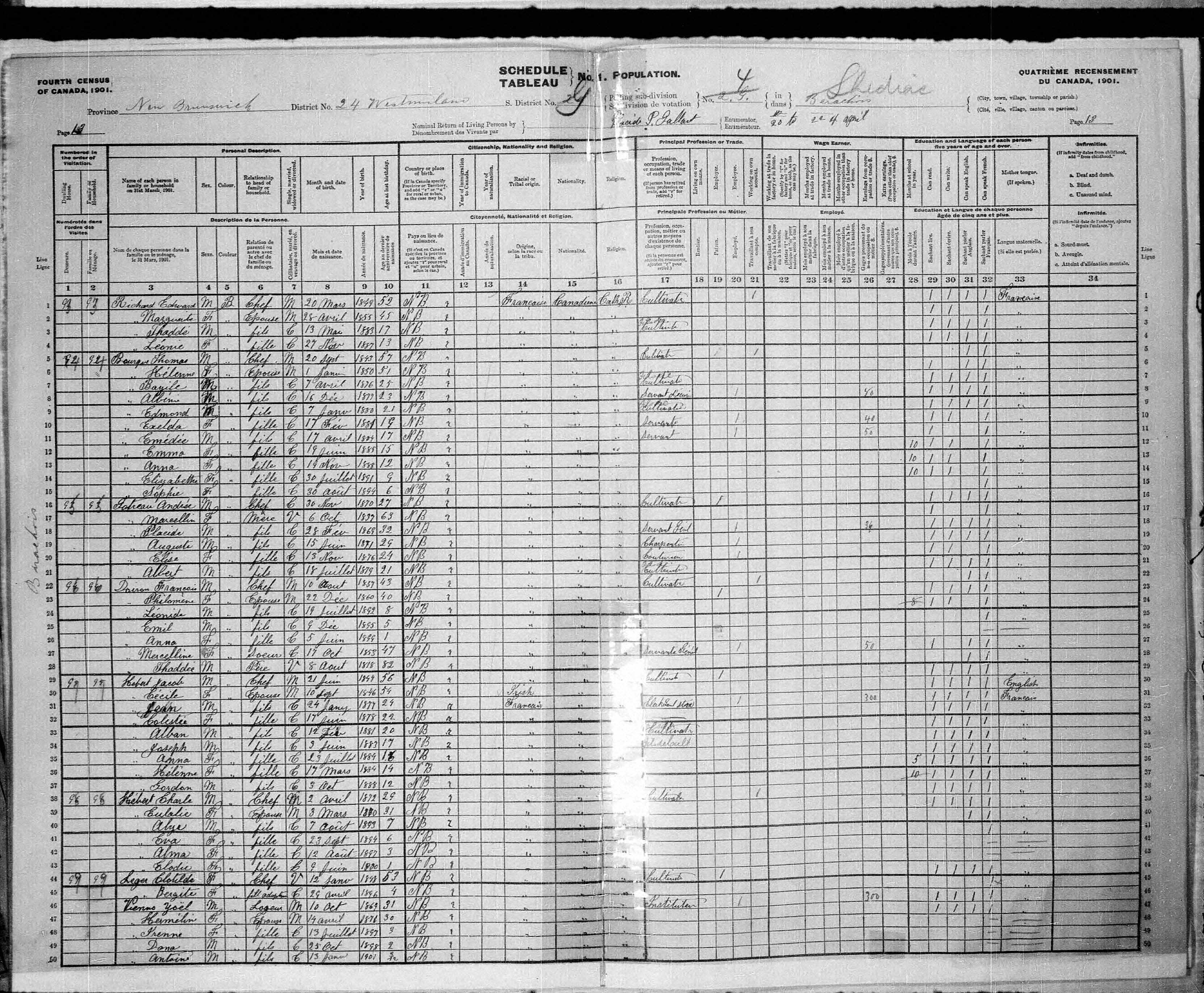 Digitized page of Census of Canada, 1901, Page number 13, for Clotilde Leger