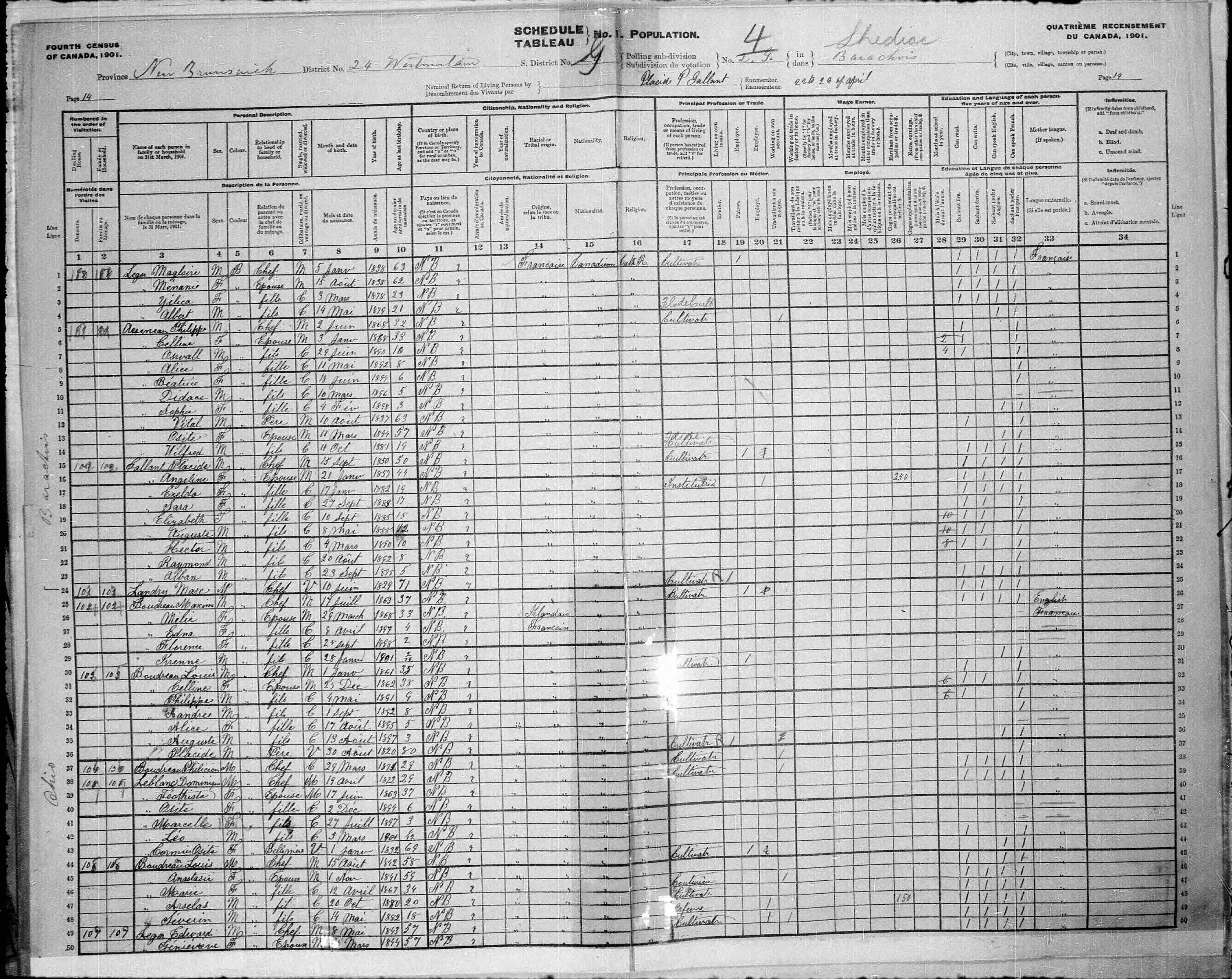 Digitized page of Census of Canada, 1901, Page number 14, for Placide Gallant