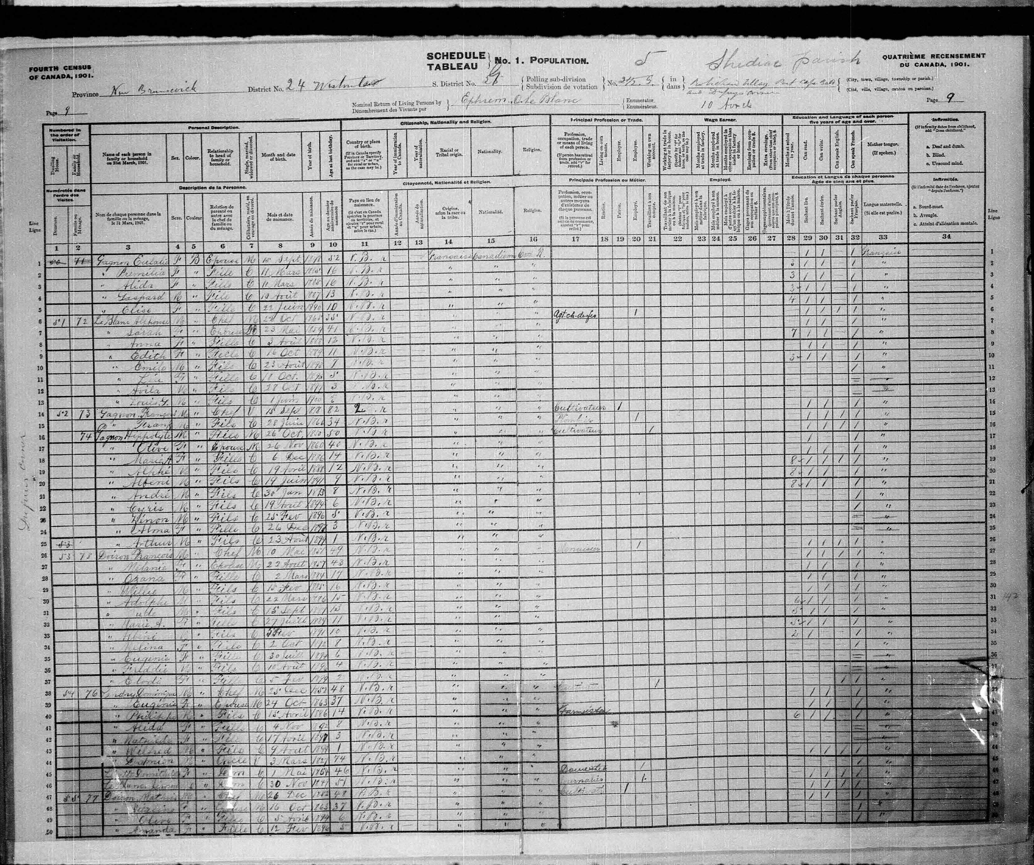 Digitized page of Census of Canada, 1901, Page number 9, for Francois Doiron