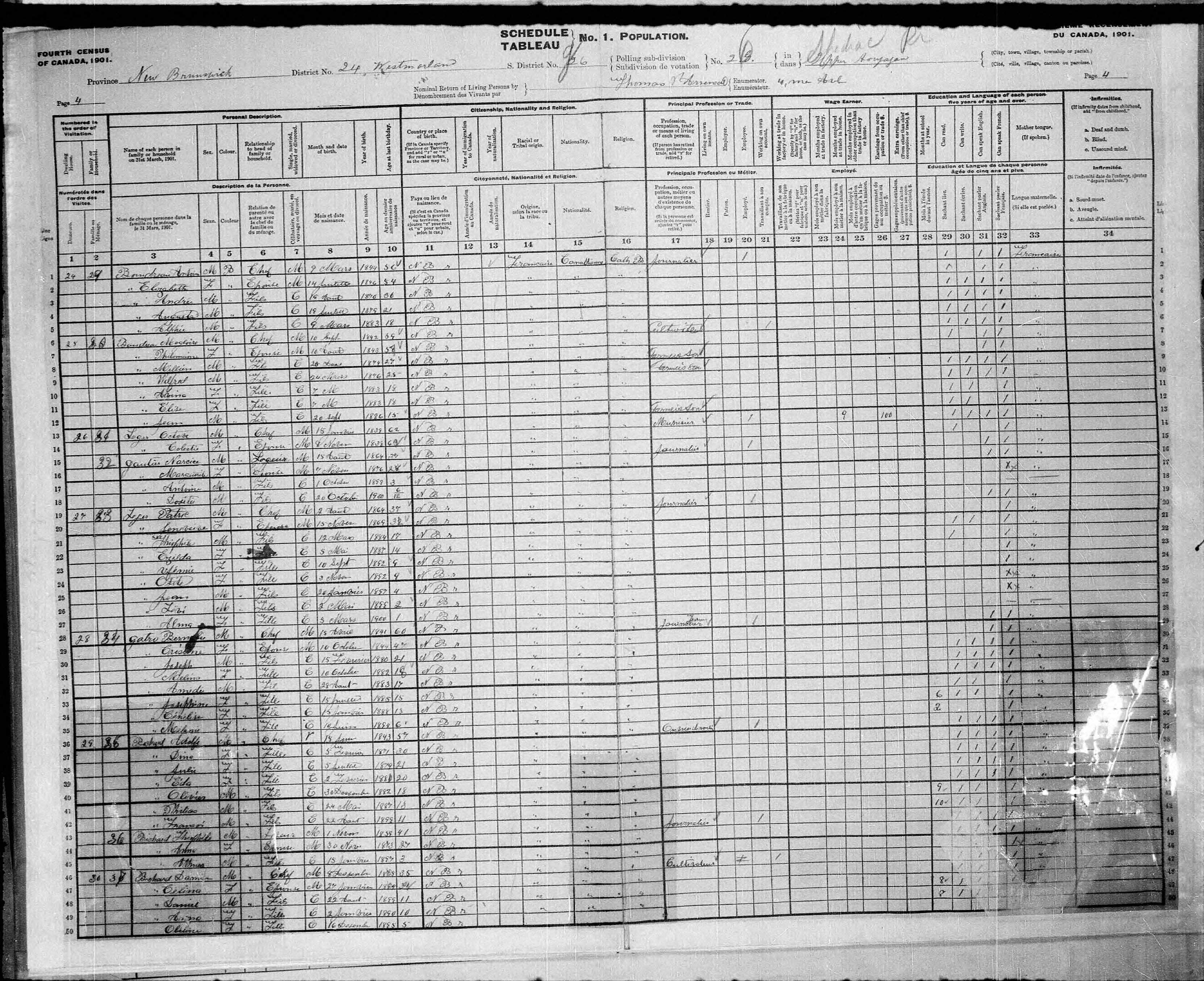 Digitized page of Census of Canada, 1901, Page number 4, for Octave Leger