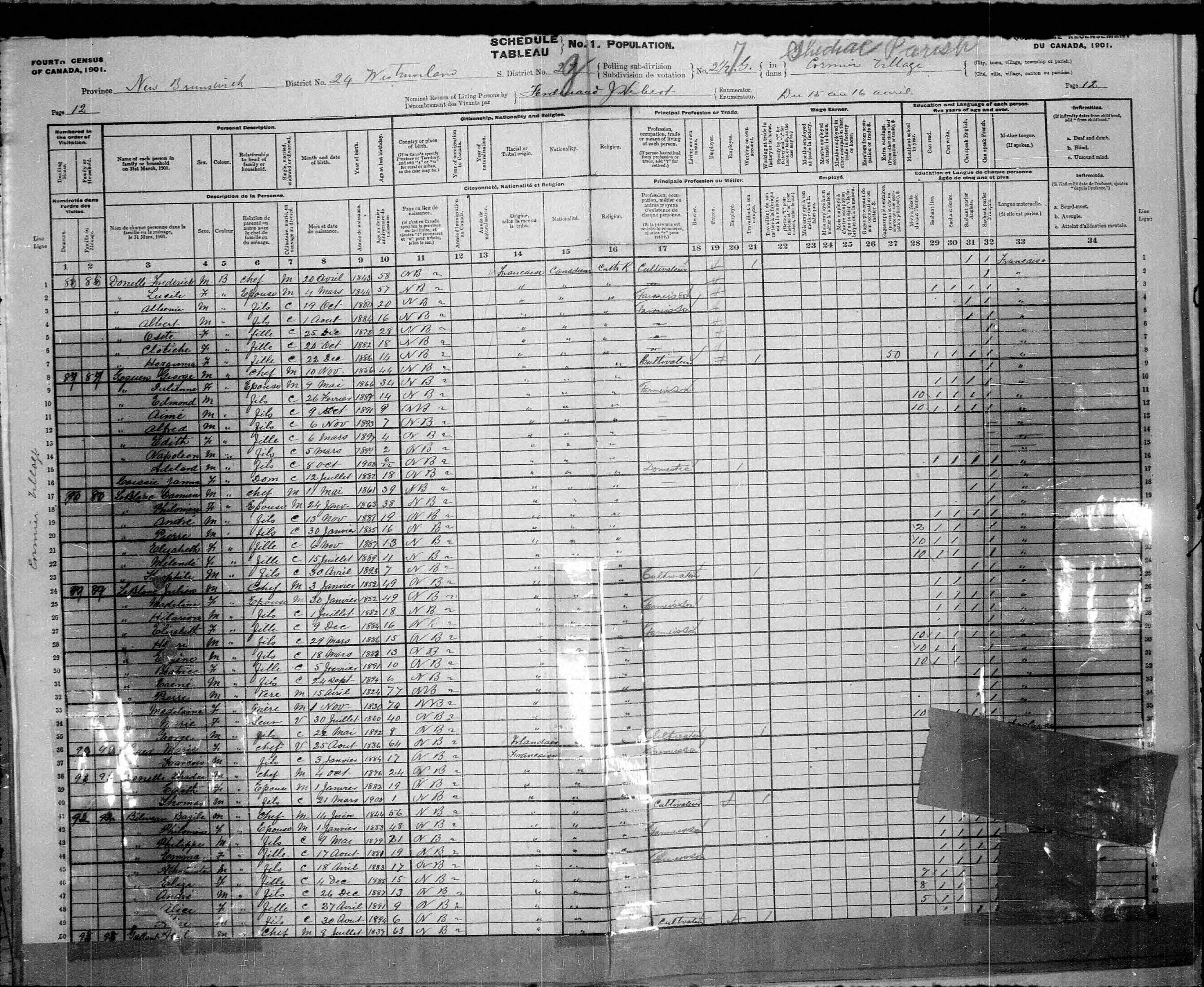 Digitized page of Census of Canada, 1901, Page number 12, for Julien Leblanc