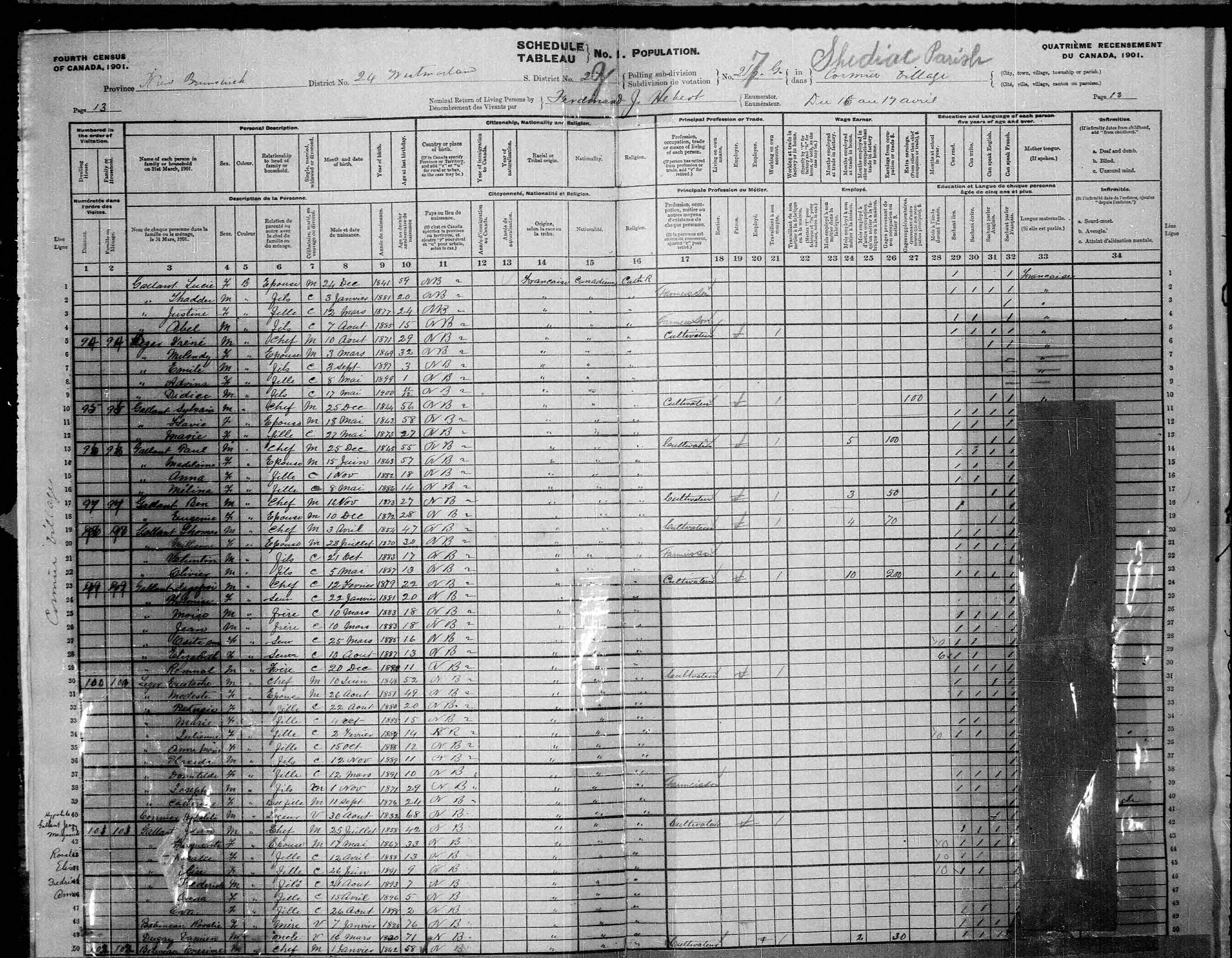 Digitized page of Census of Canada, 1901, Page number 13, for Eustache Leger