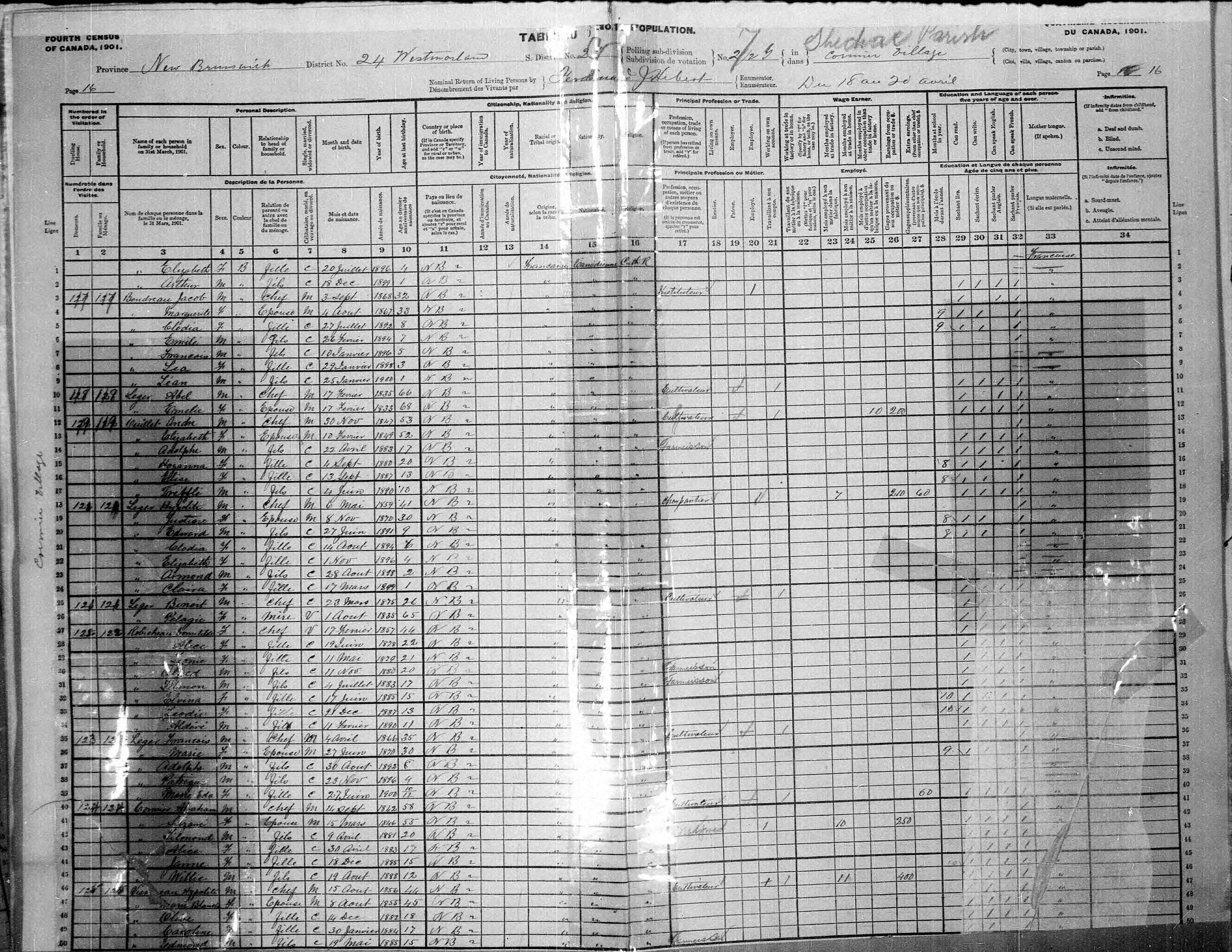 Digitized page of Census of Canada, 1901, Page number 16, for Andre Ouillet