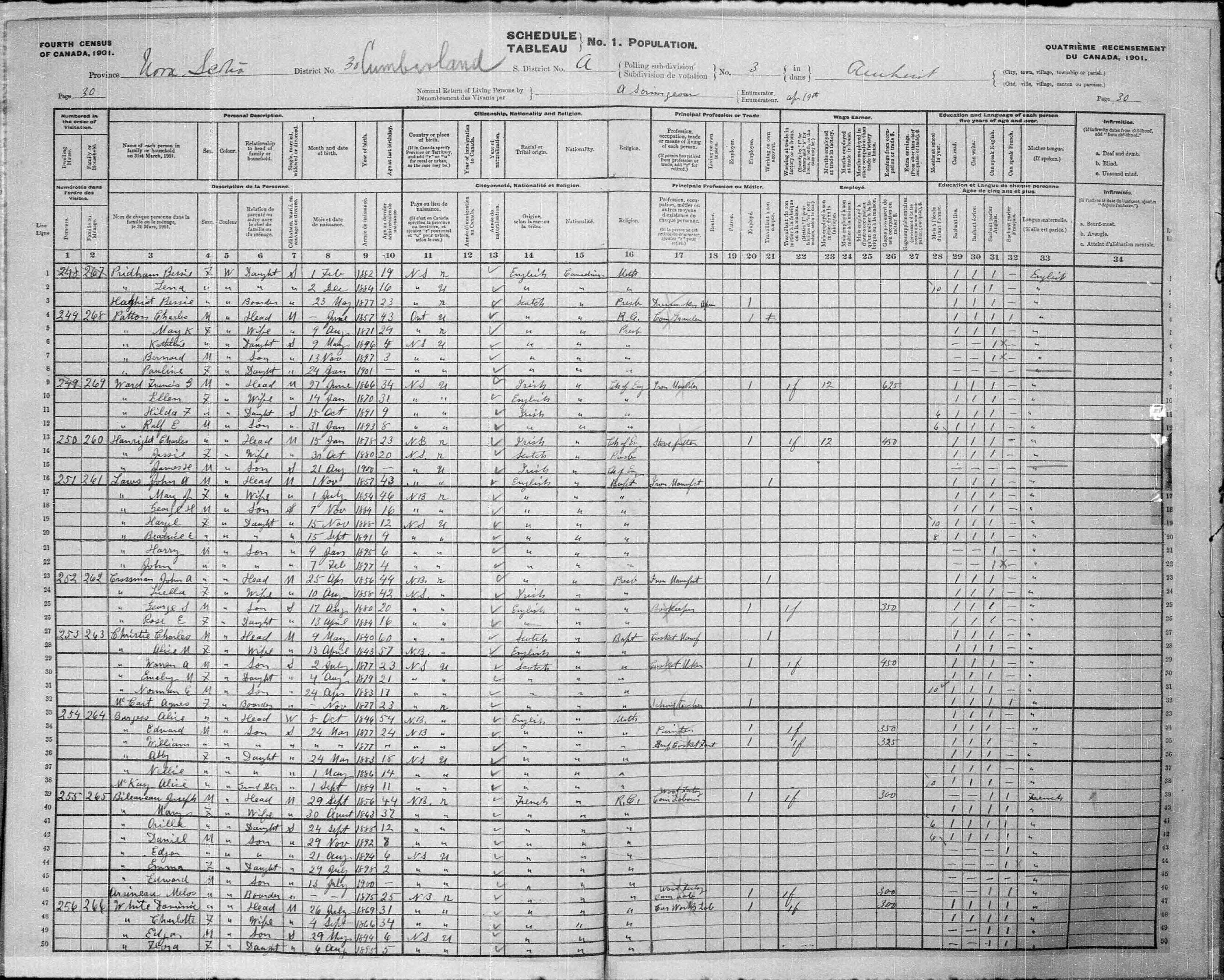 Digitized page of Census of Canada, 1901, Page number 30, for Joseph Bileauveau