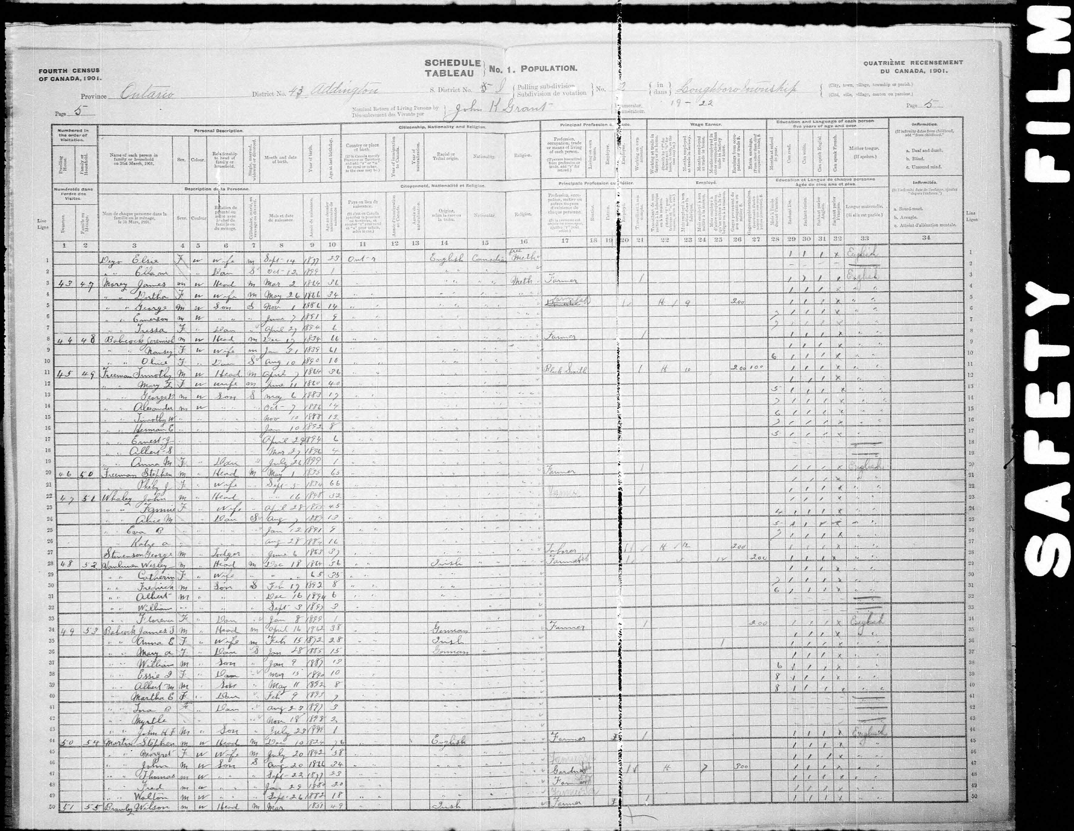 Digitized page of Census of Canada, 1901, Page number 5, for John H F Babcock