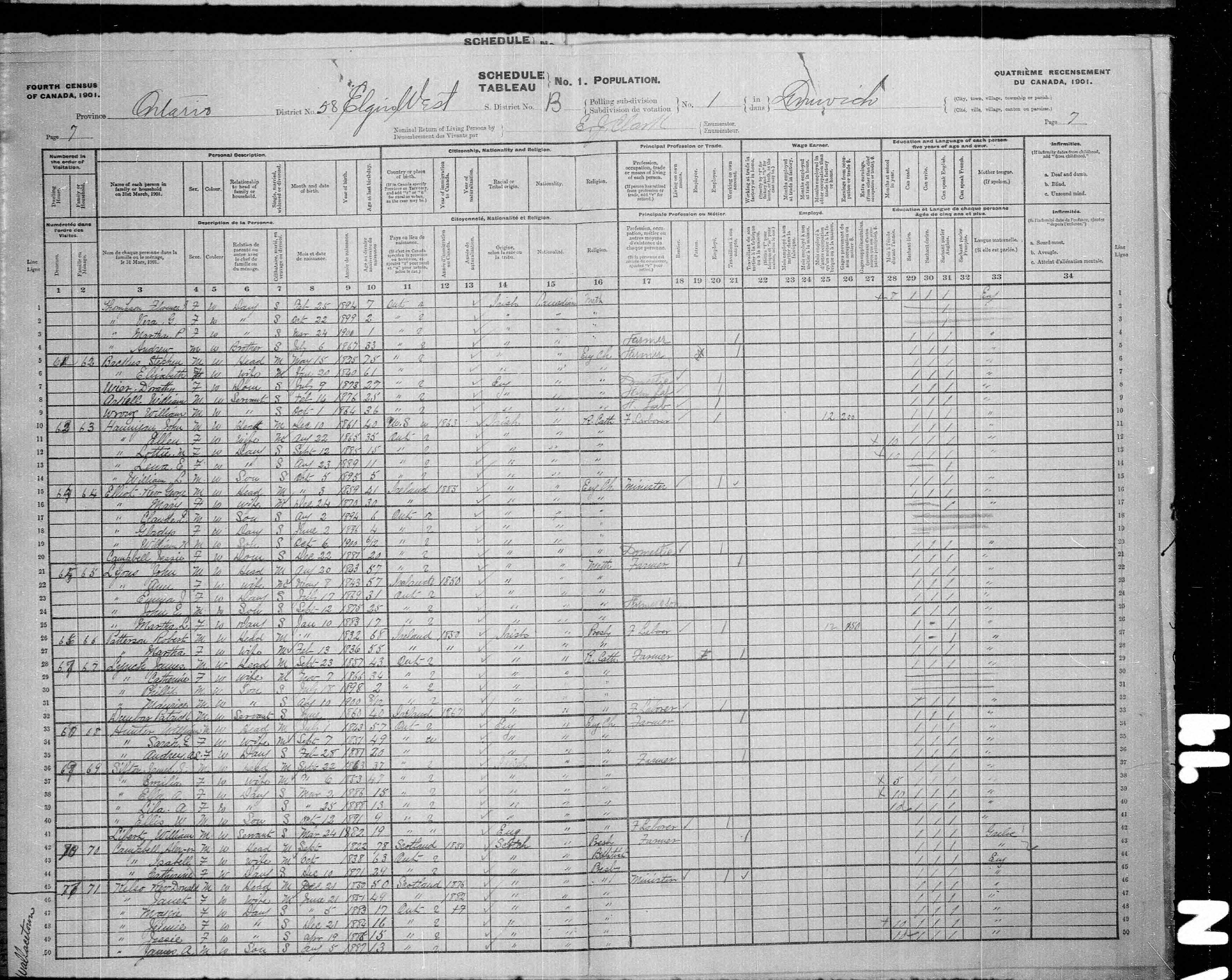 Digitized page of Census of Canada, 1901, Page number 7, for Ellis W Sifton