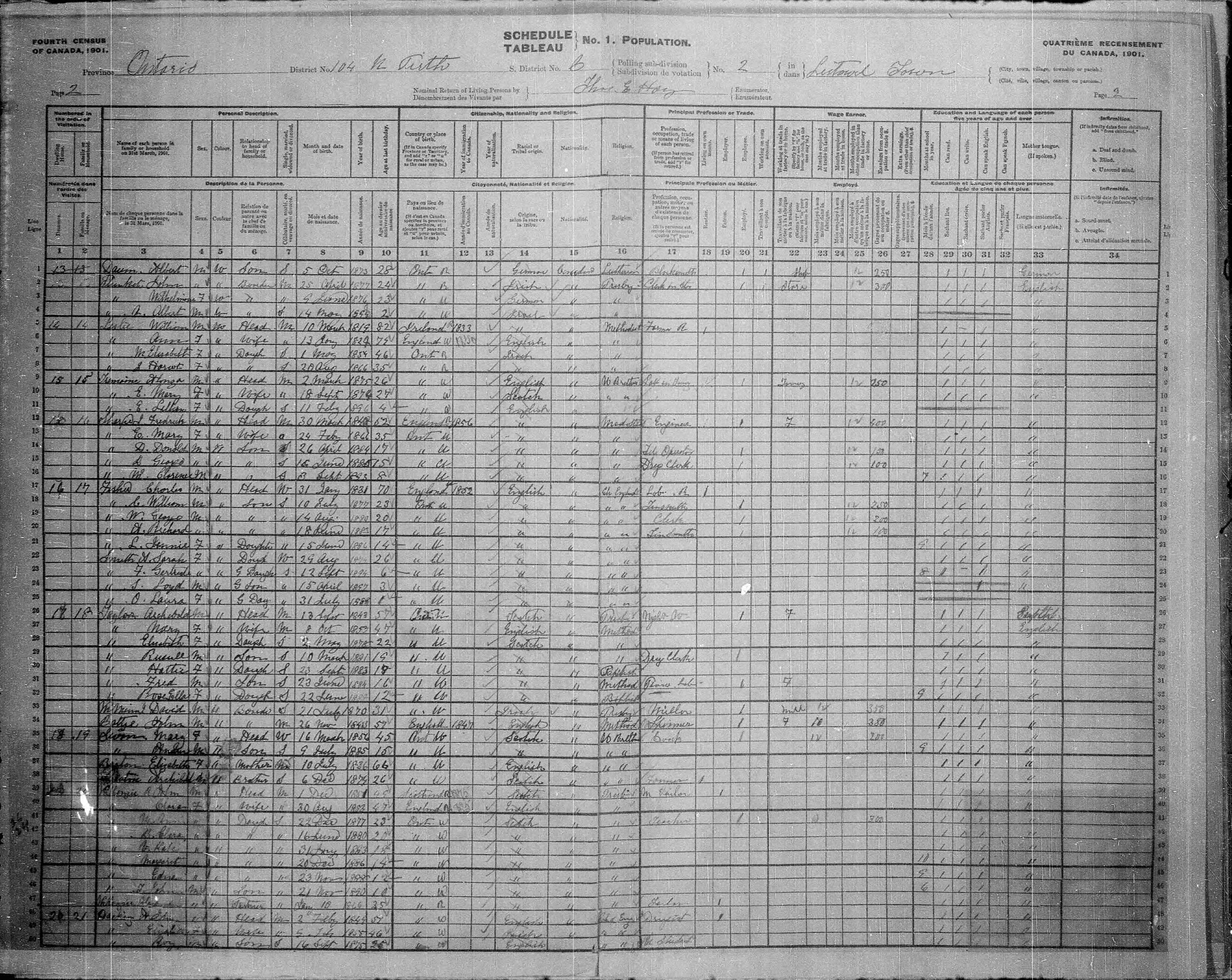 Digitized page of Census of Canada, 1901, Page number 2, for Fred Sayles