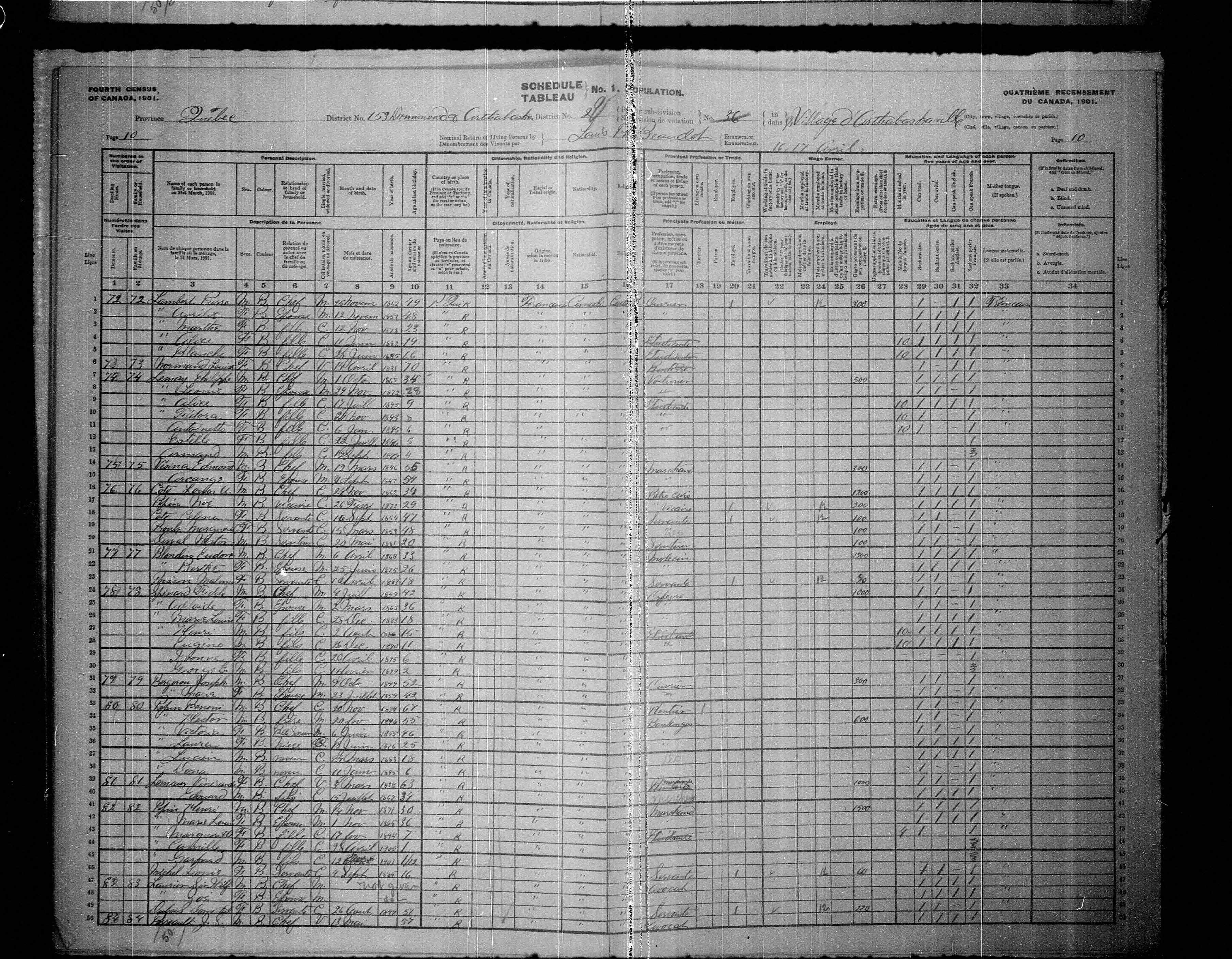 Digitized page of Census of Canada, 1901, Page number 10, for Wilf Laurier