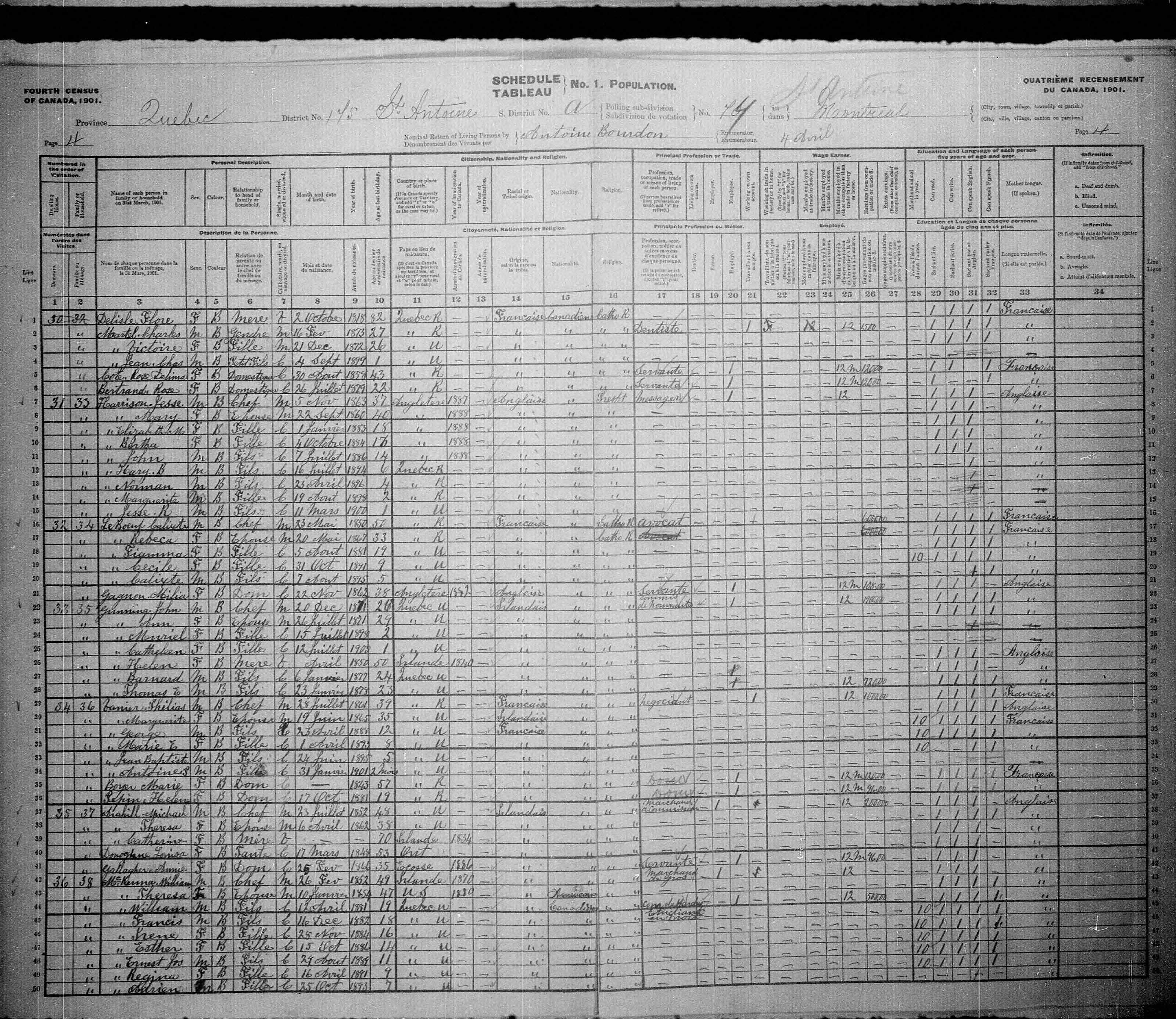 Digitized page of Census of Canada, 1901, Page number 4, for George Vanier