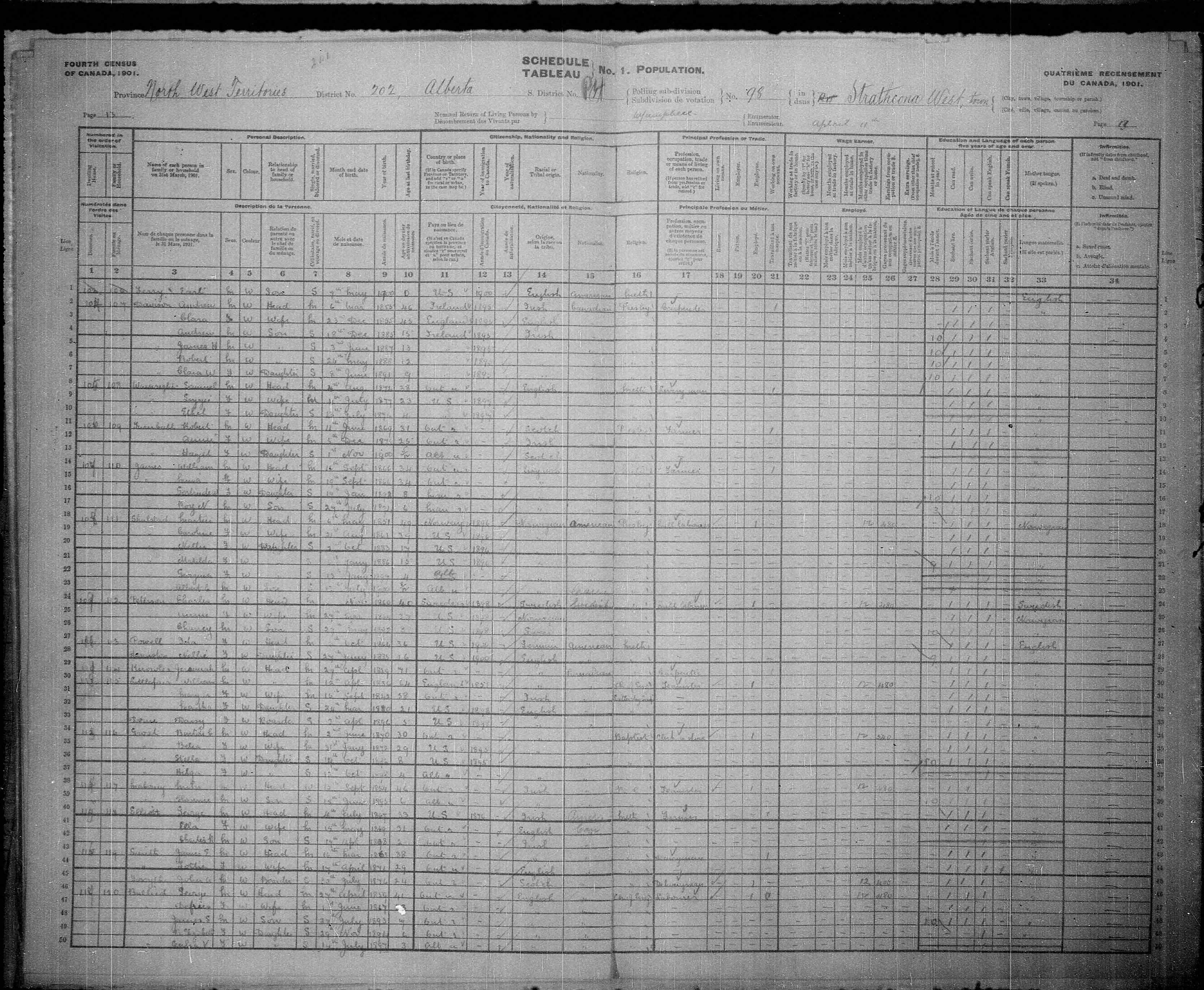 Digitized page of Census of Canada, 1901, Page number 13, for James H Davison