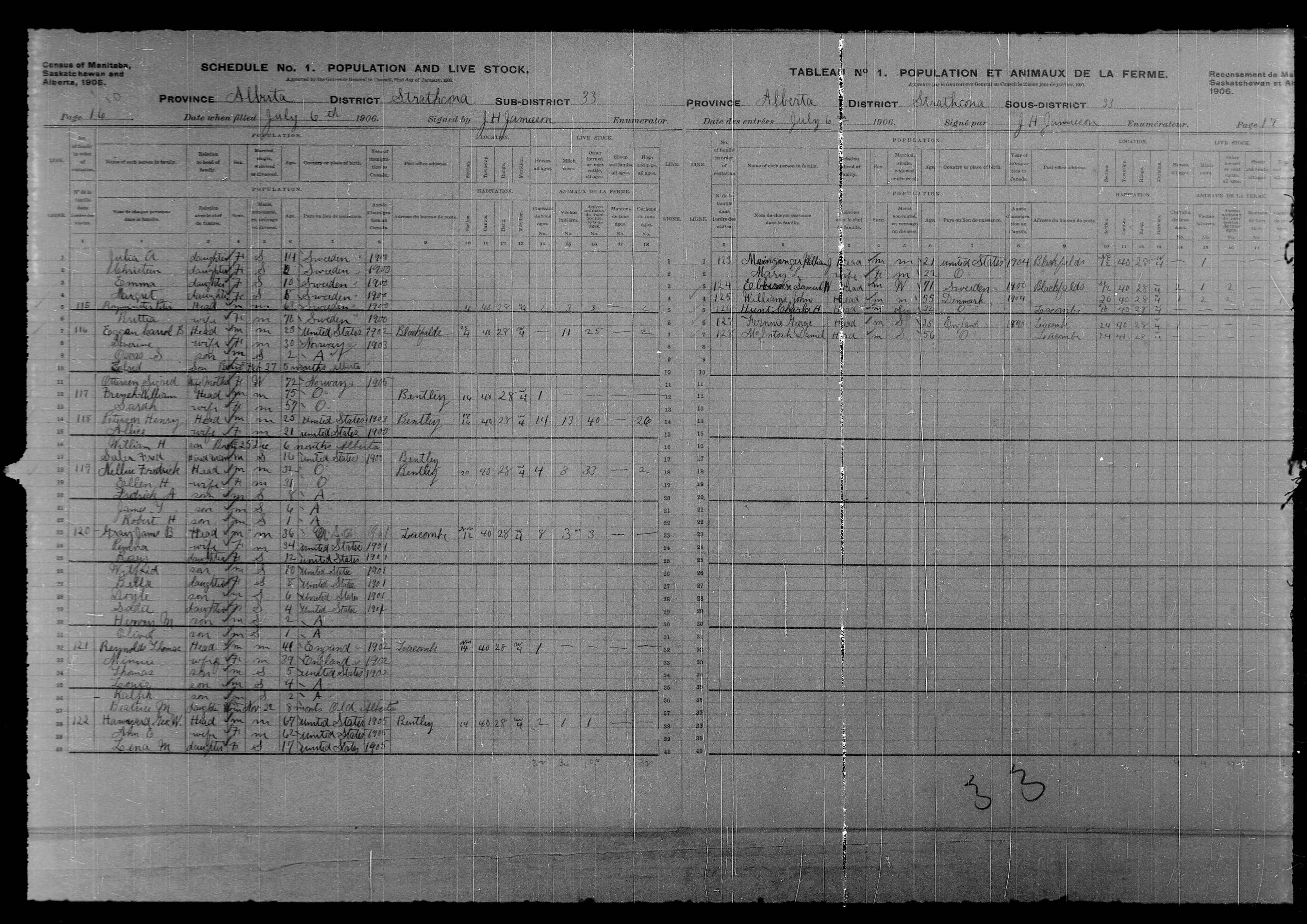 Digitized page of Census of Northwest Provinces, 1906, Page number 16, for Sigred Ottersen