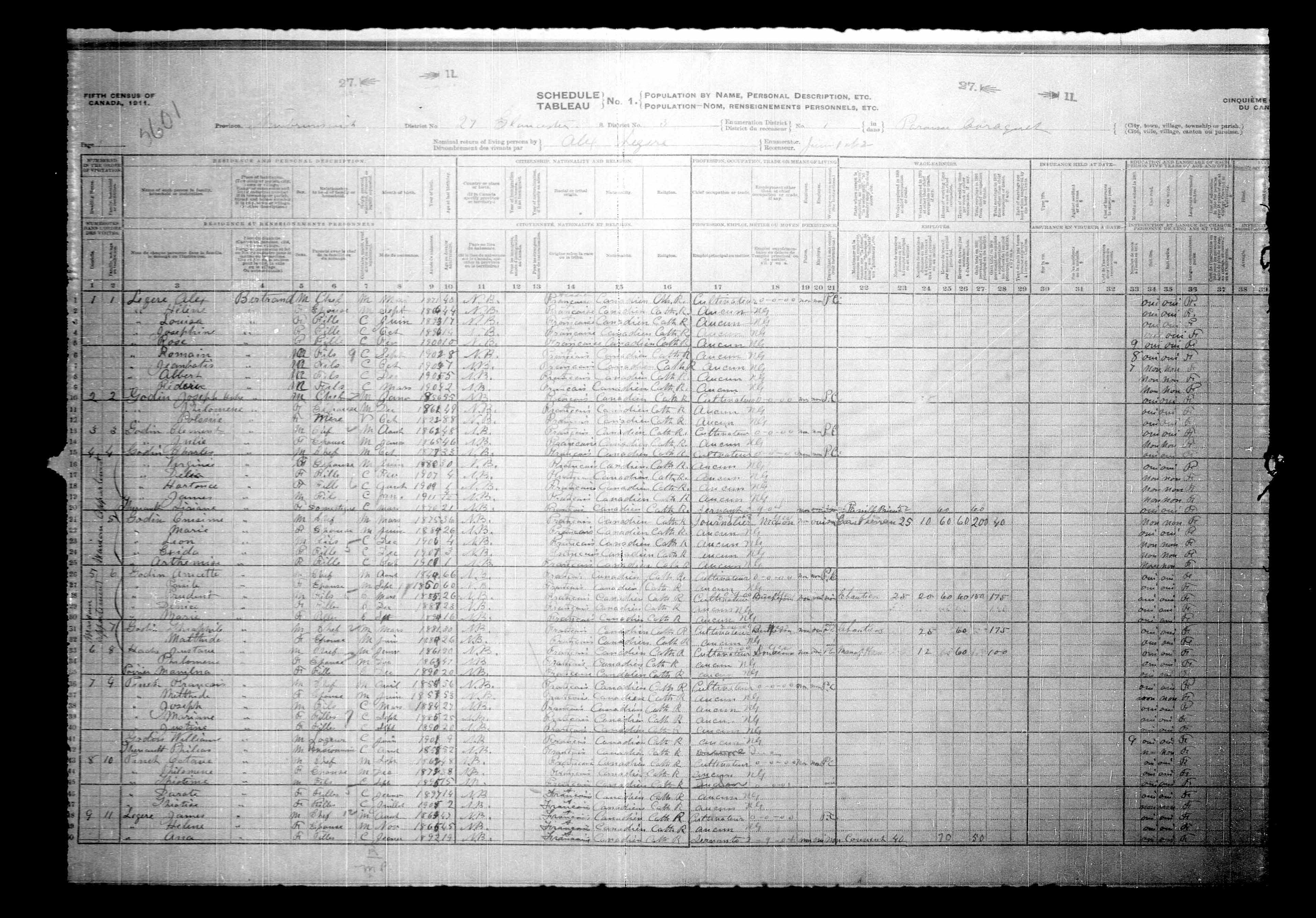Digitized page of Census of Canada, 1911, Page number 1, for James Lagers