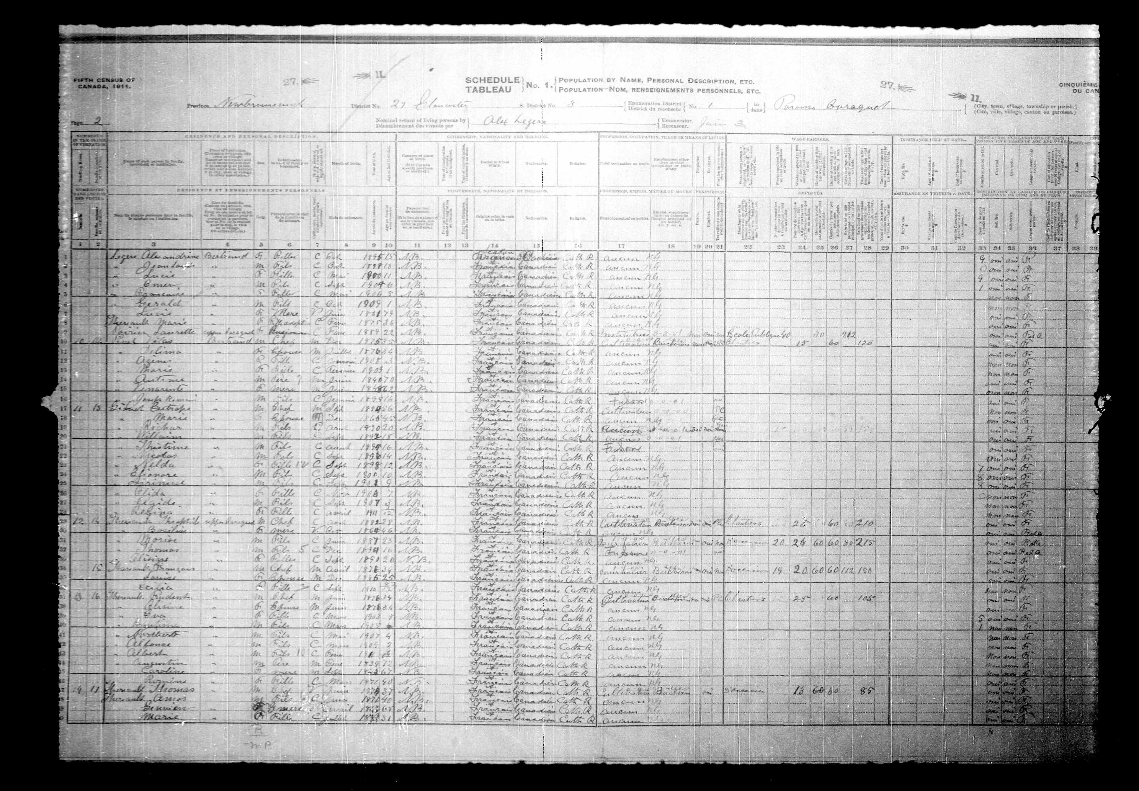 Digitized page of Census of Canada, 1911, Page number 2, for Catrope Gisner