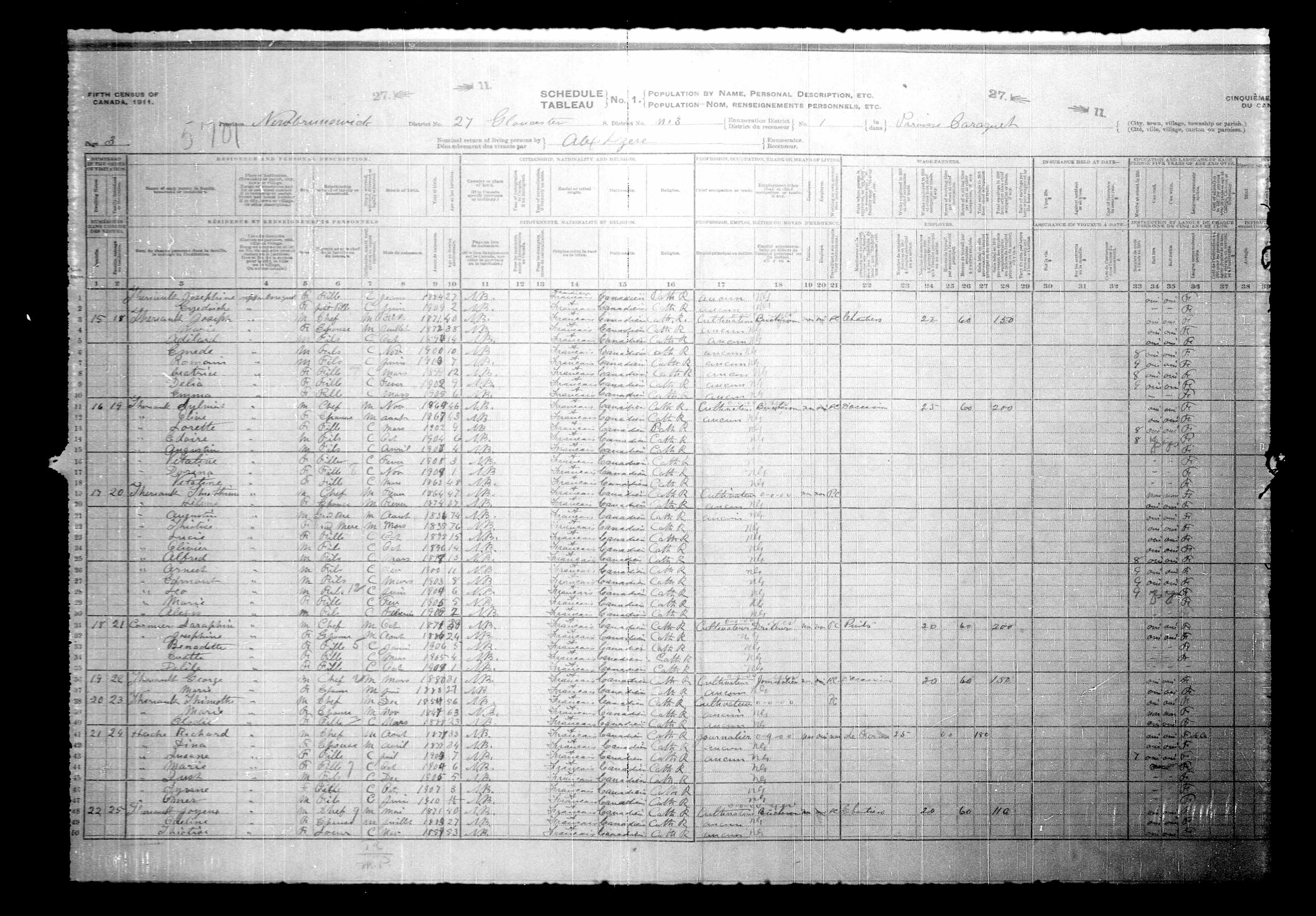 Digitized page of Census of Canada, 1911, Page number 3, for Saraphin Cormier