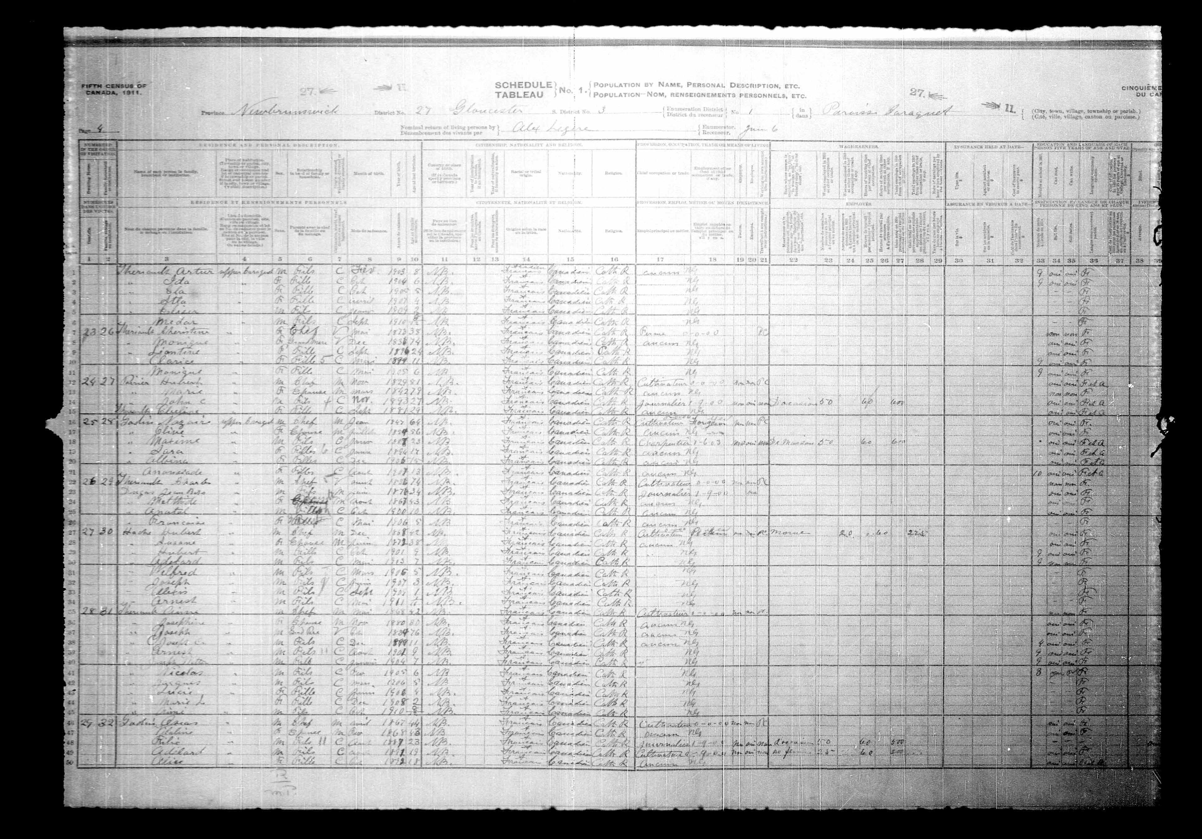 Digitized page of Census of Canada, 1911, Page number 4, for Oscar Garlin