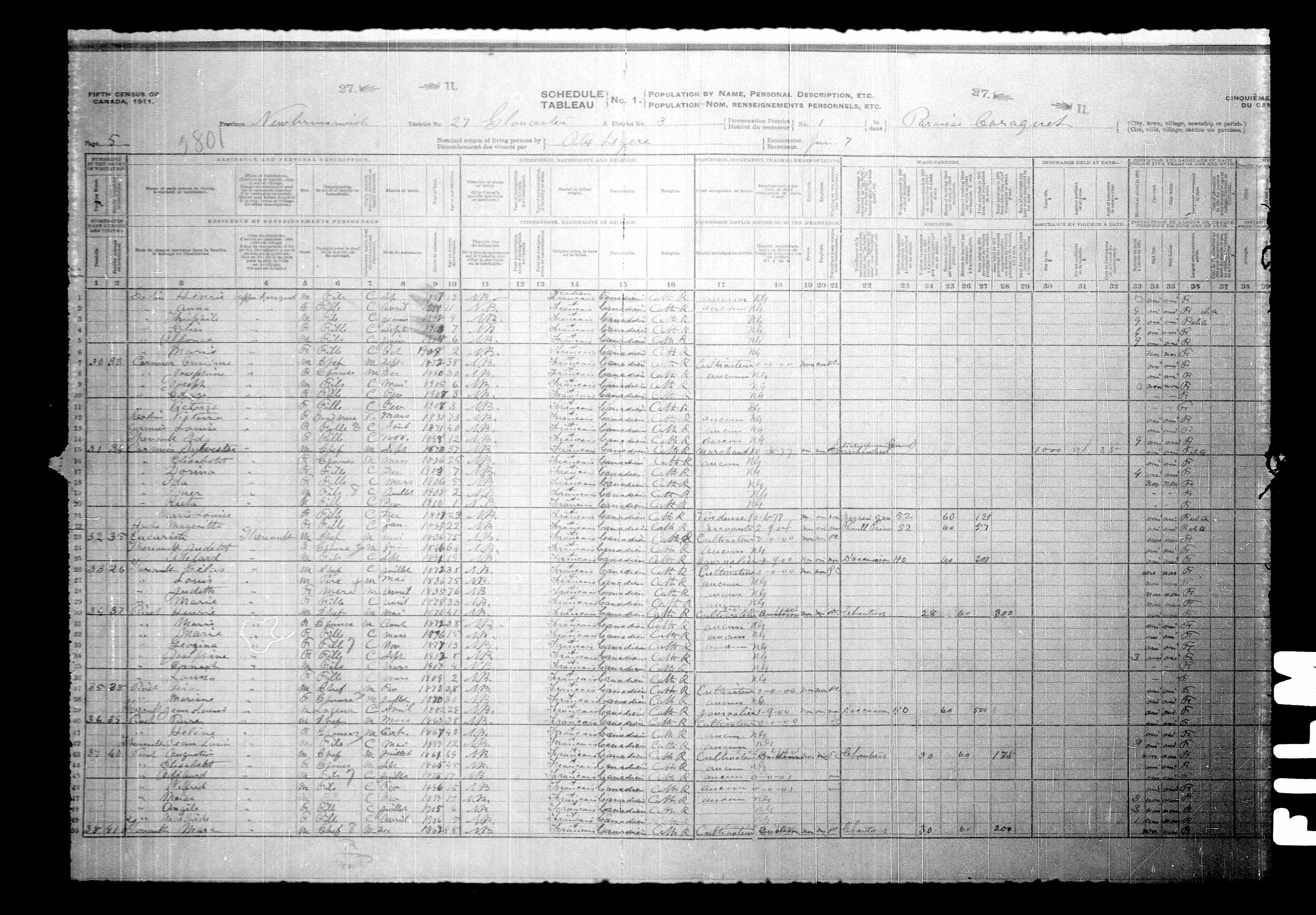 Digitized page of Census of Canada, 1911, Page number 5, for Sulvester Carmien