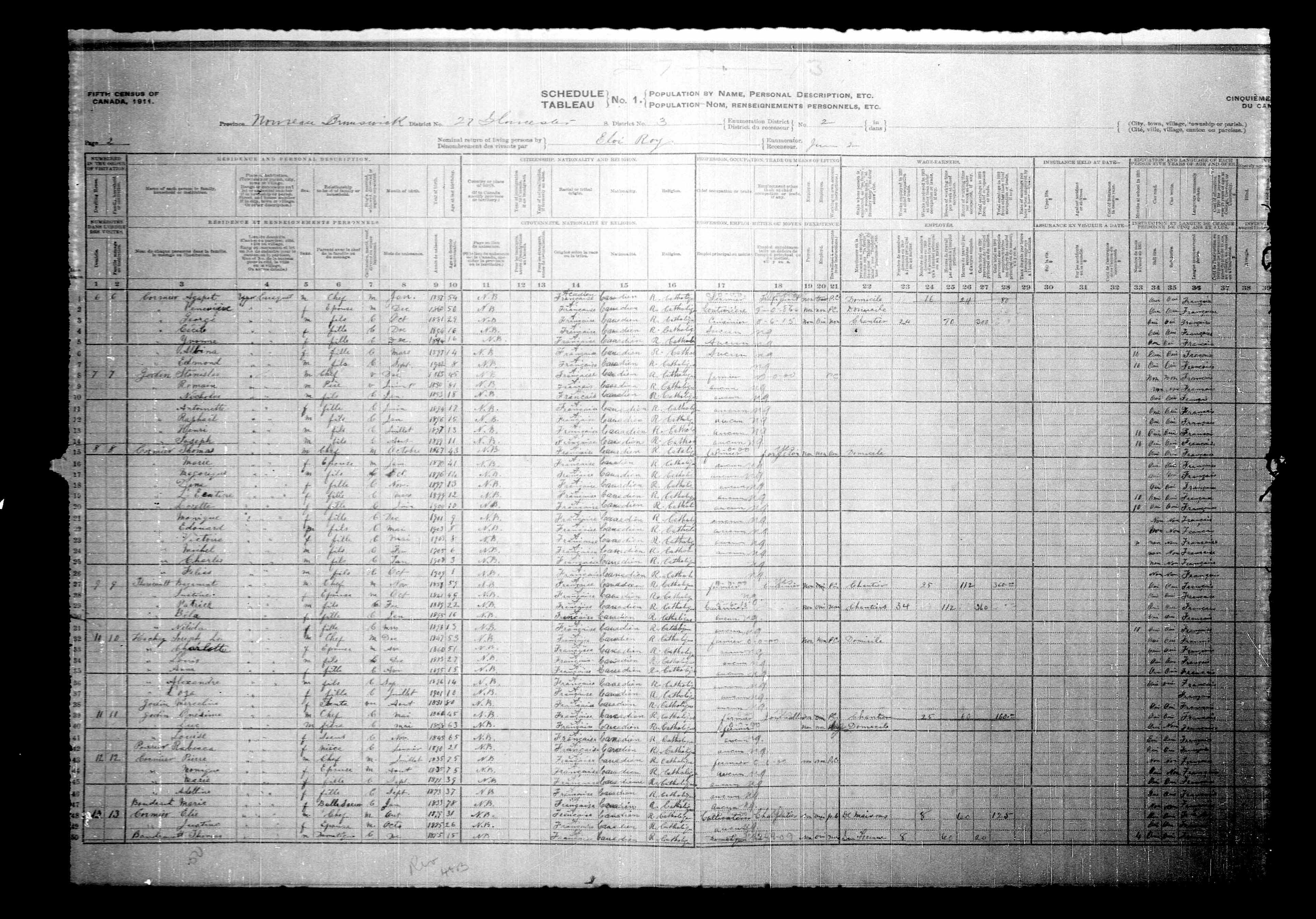 Digitized page of Census of Canada, 1911, Page number 2, for Agapeto Cormier