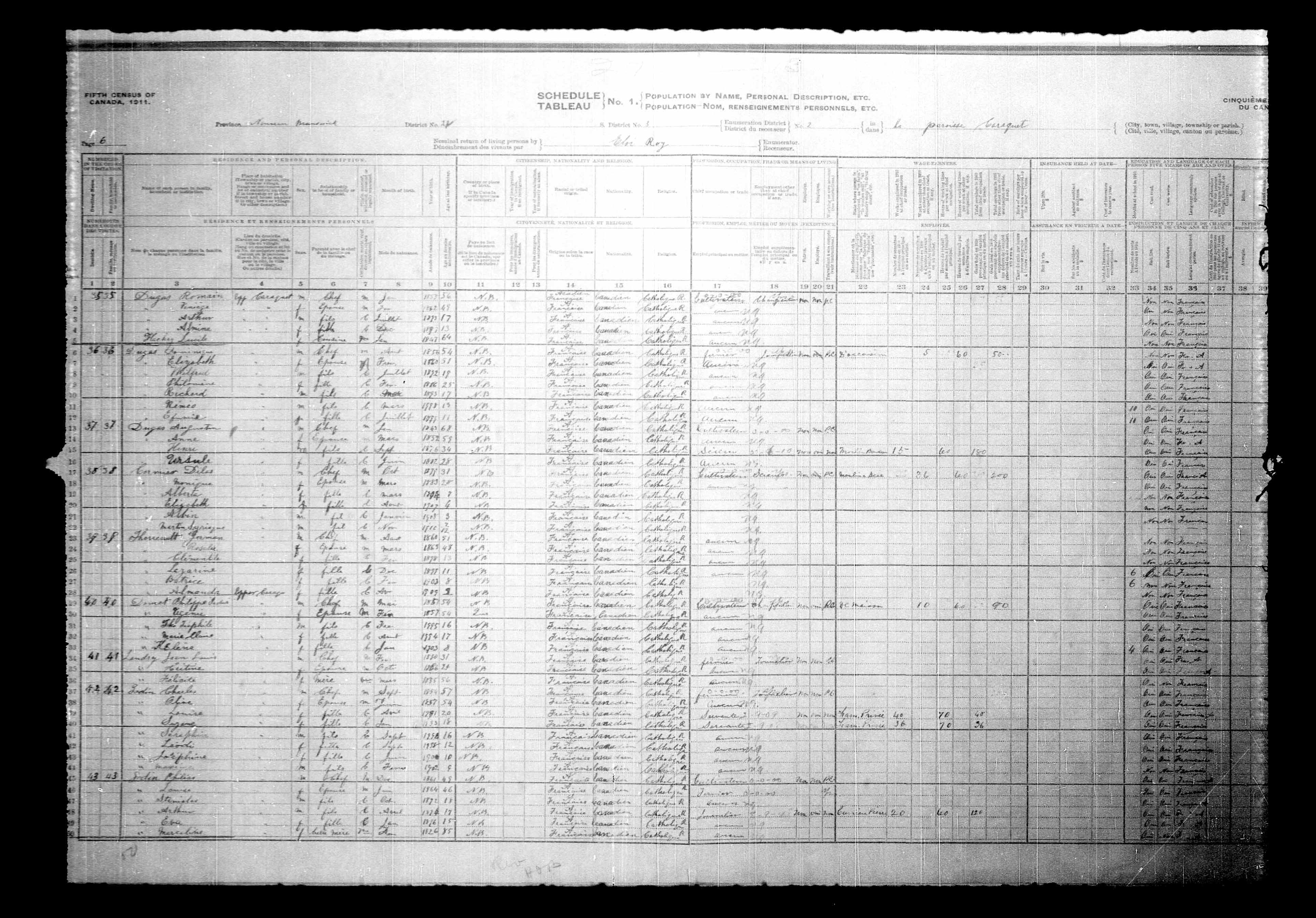Digitized page of Census of Canada, 1911, Page number 6, for Jean Louis Landry