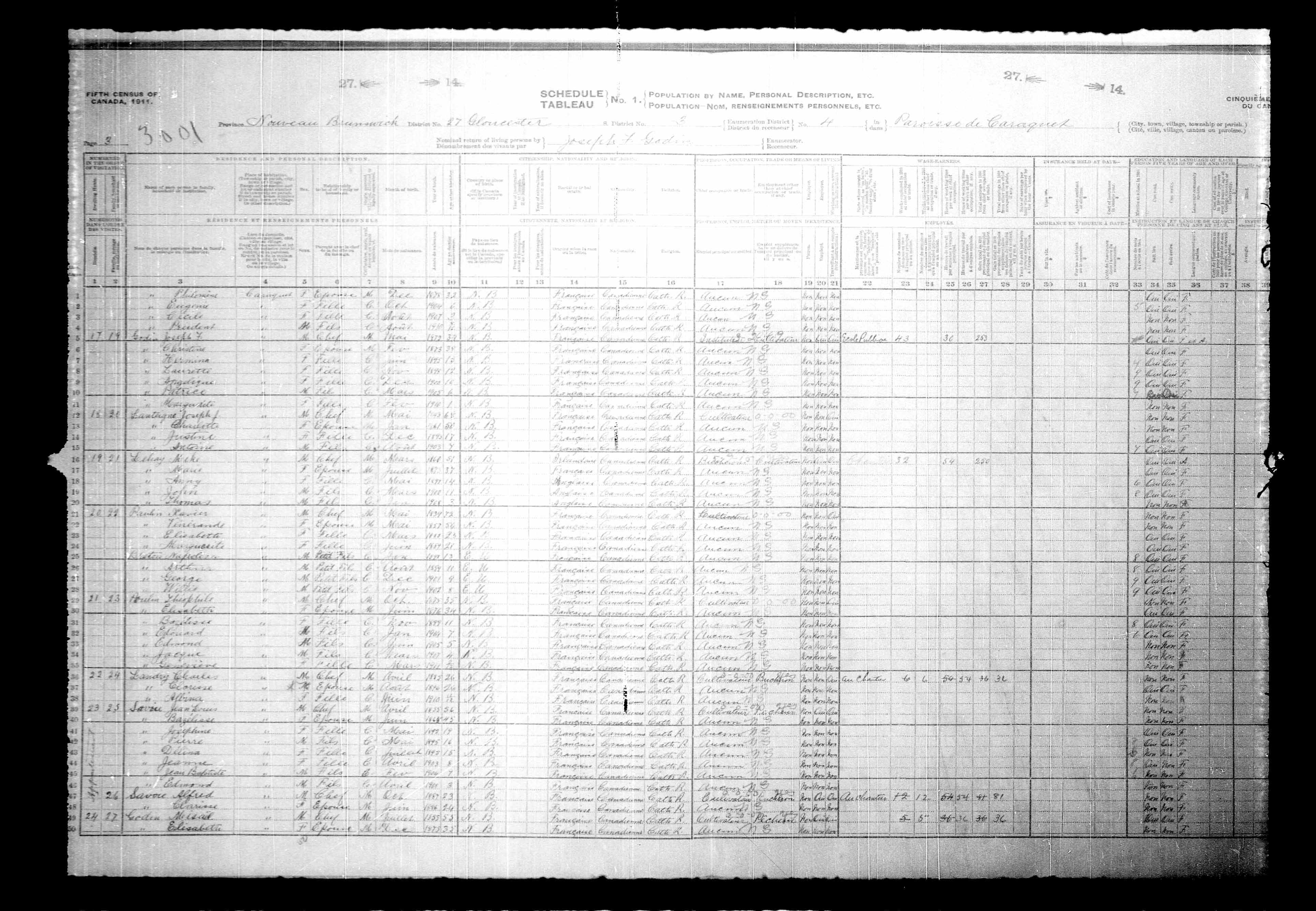 Digitized page of Census of Canada, 1911, Page number 3, for Josepth F Godin