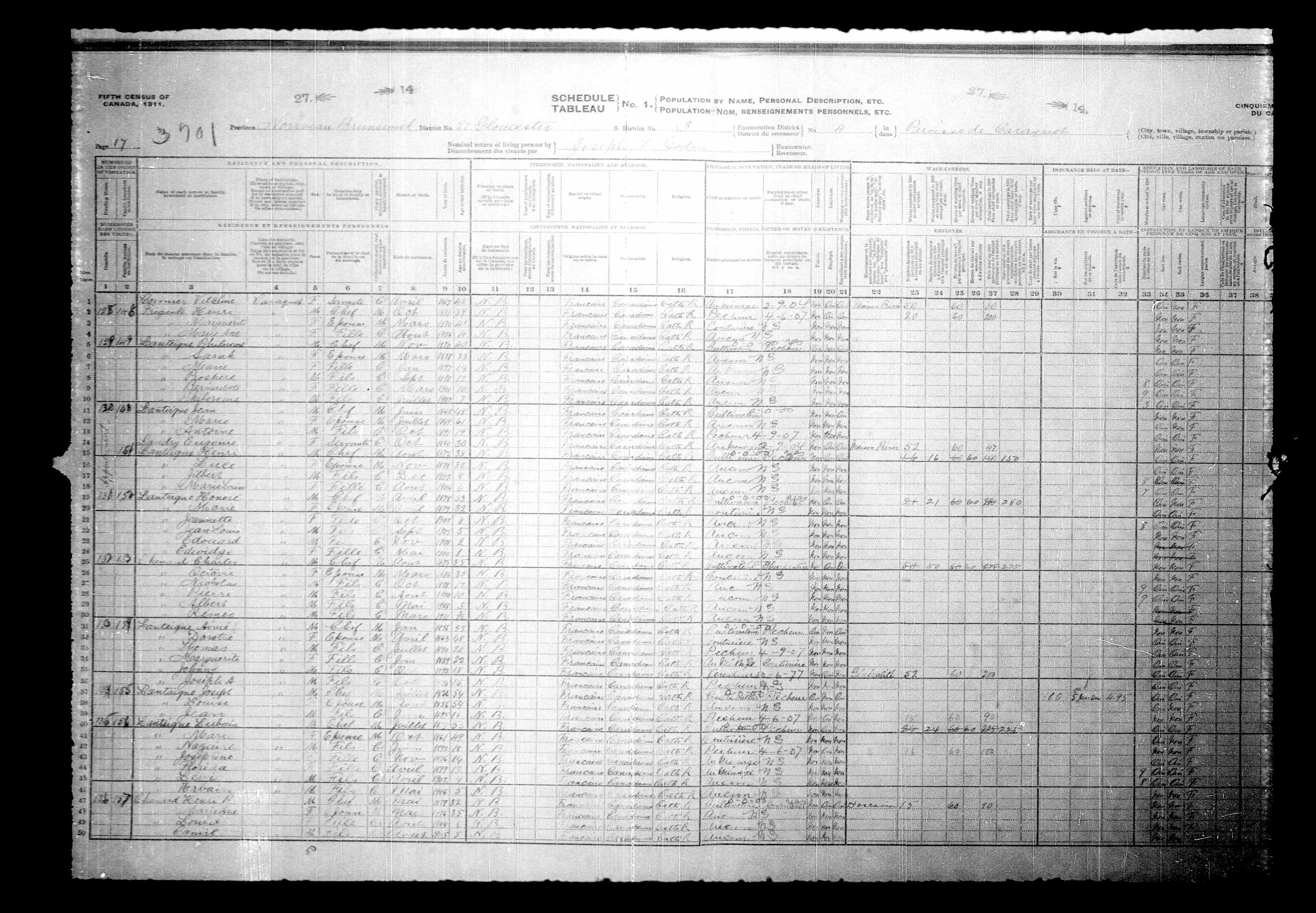 Digitized page of Census of Canada, 1911, Page number 17, for Jean Lanteigne
