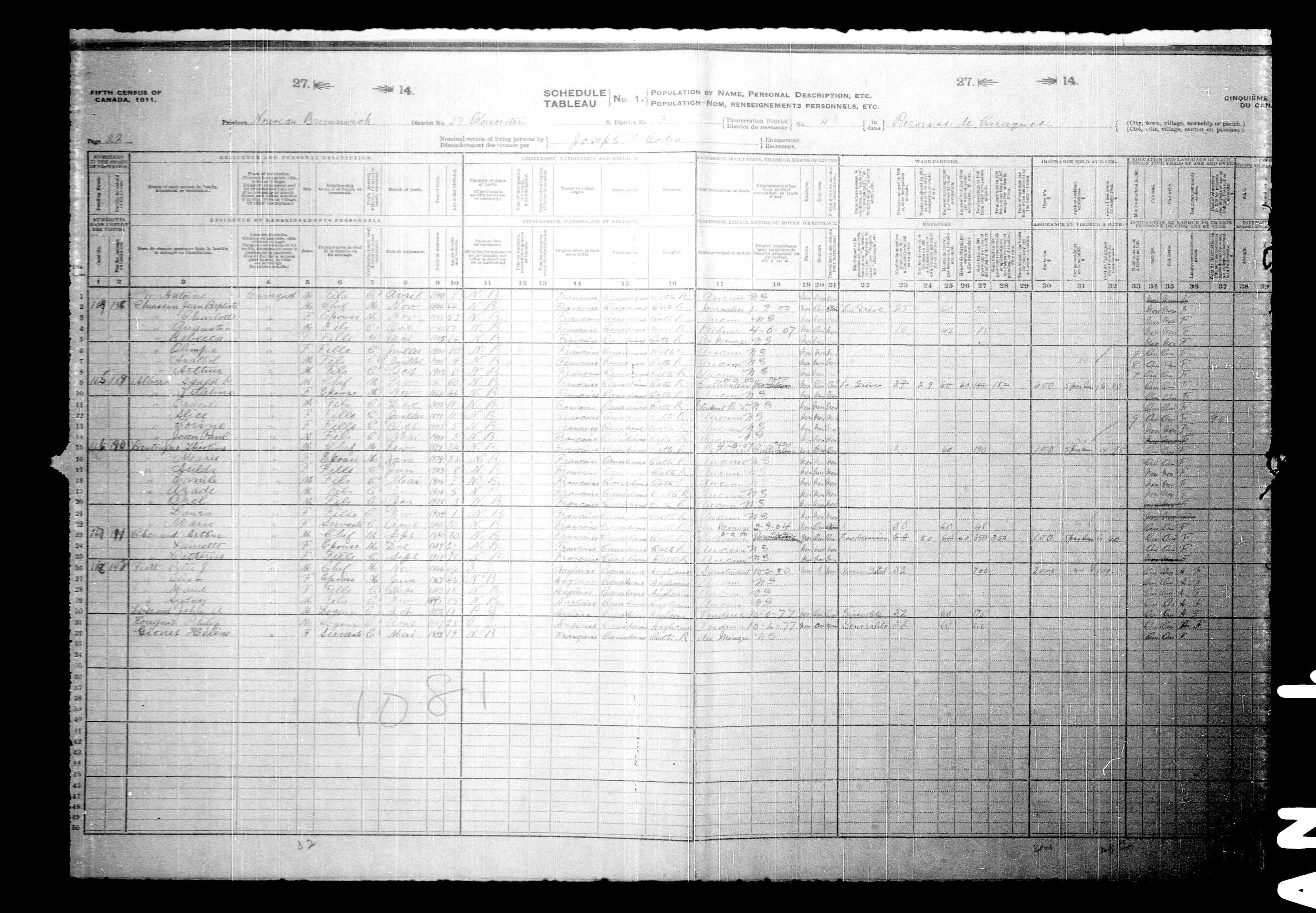 Digitized page of Census of Canada, 1911, Page number 22, for Agapit P Albert