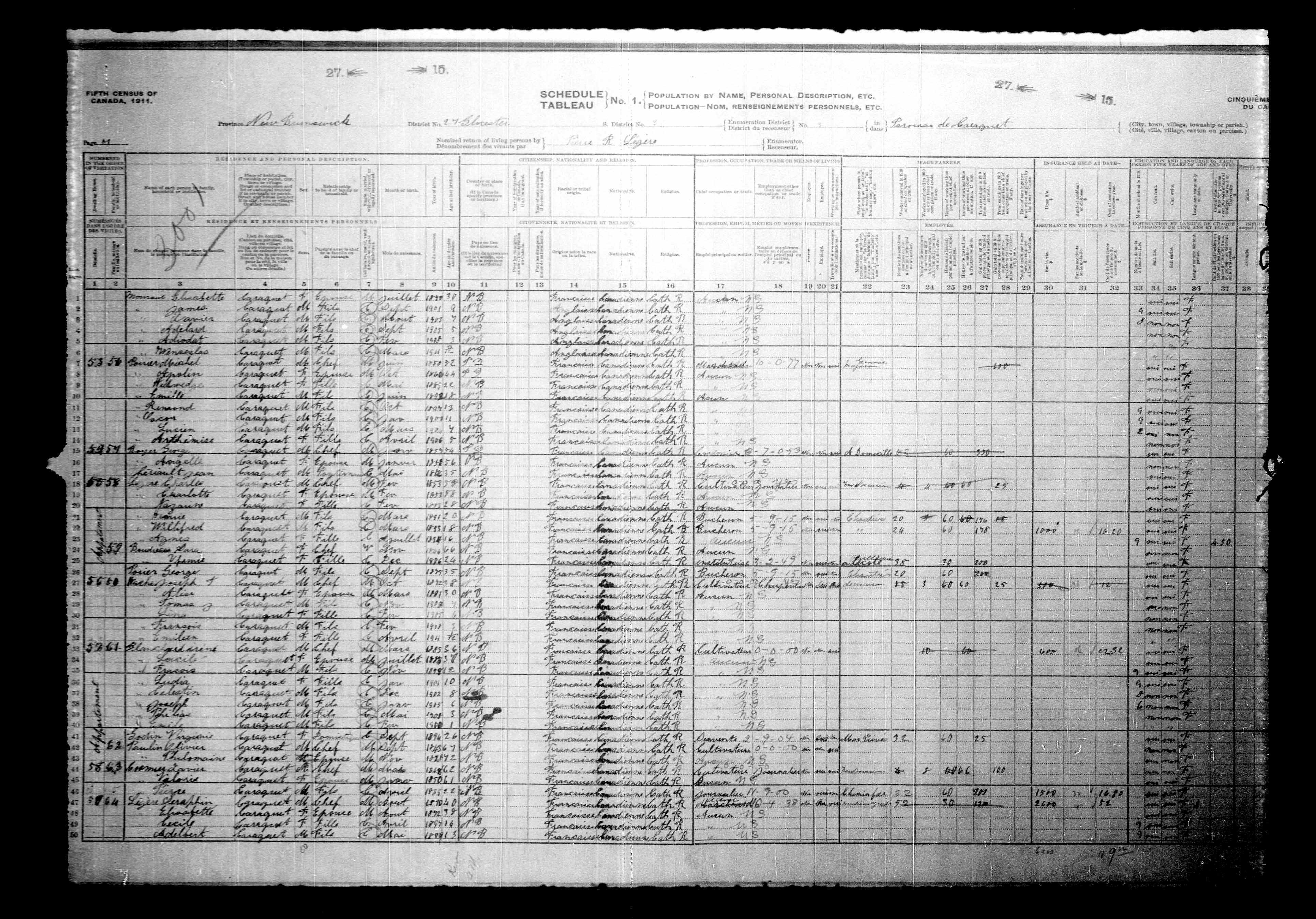 Digitized page of Census of Canada, 1911, Page number 7, for Charles Lazare