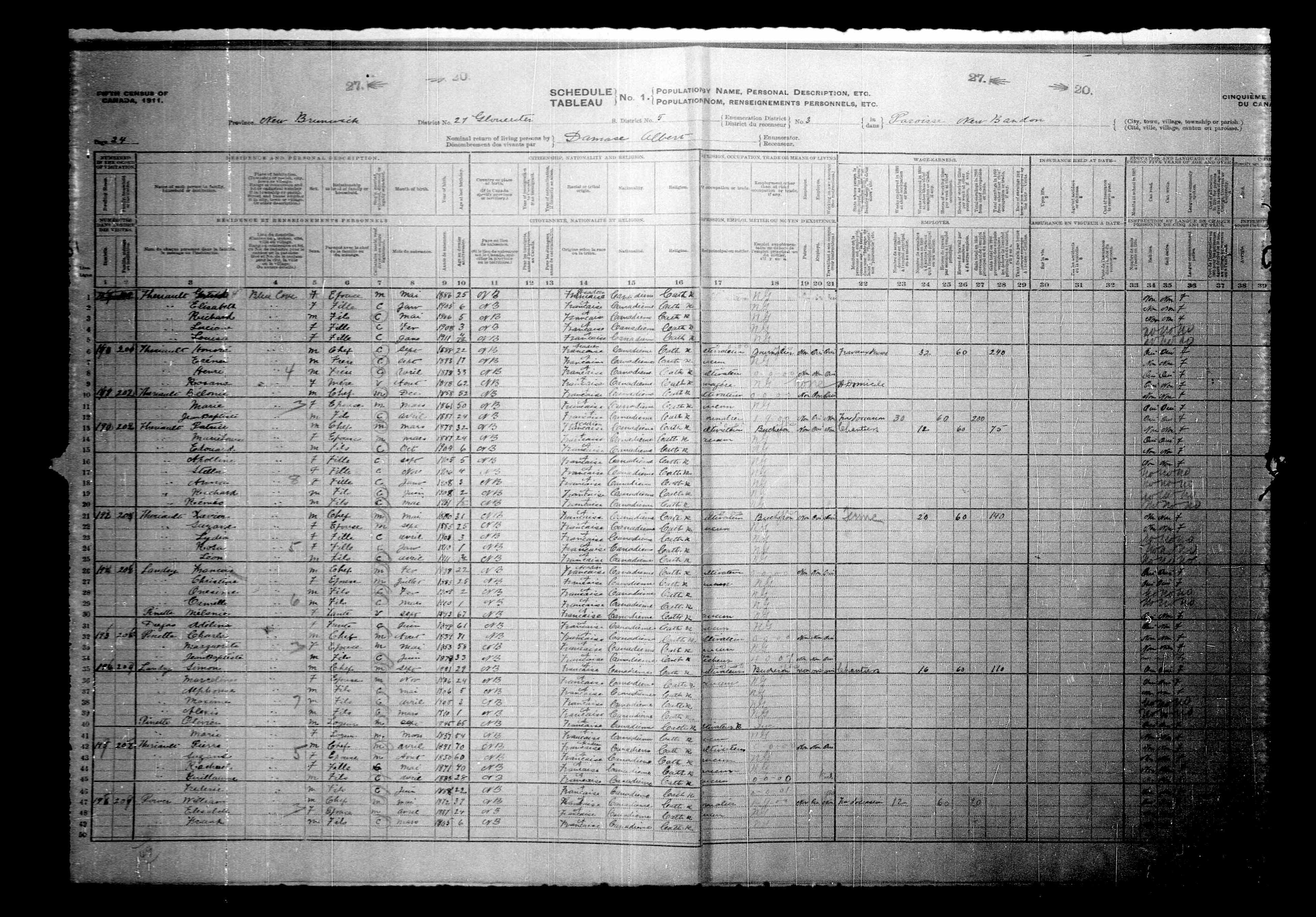Digitized page of Census of Canada, 1911, Page number 24, for Frances Landry