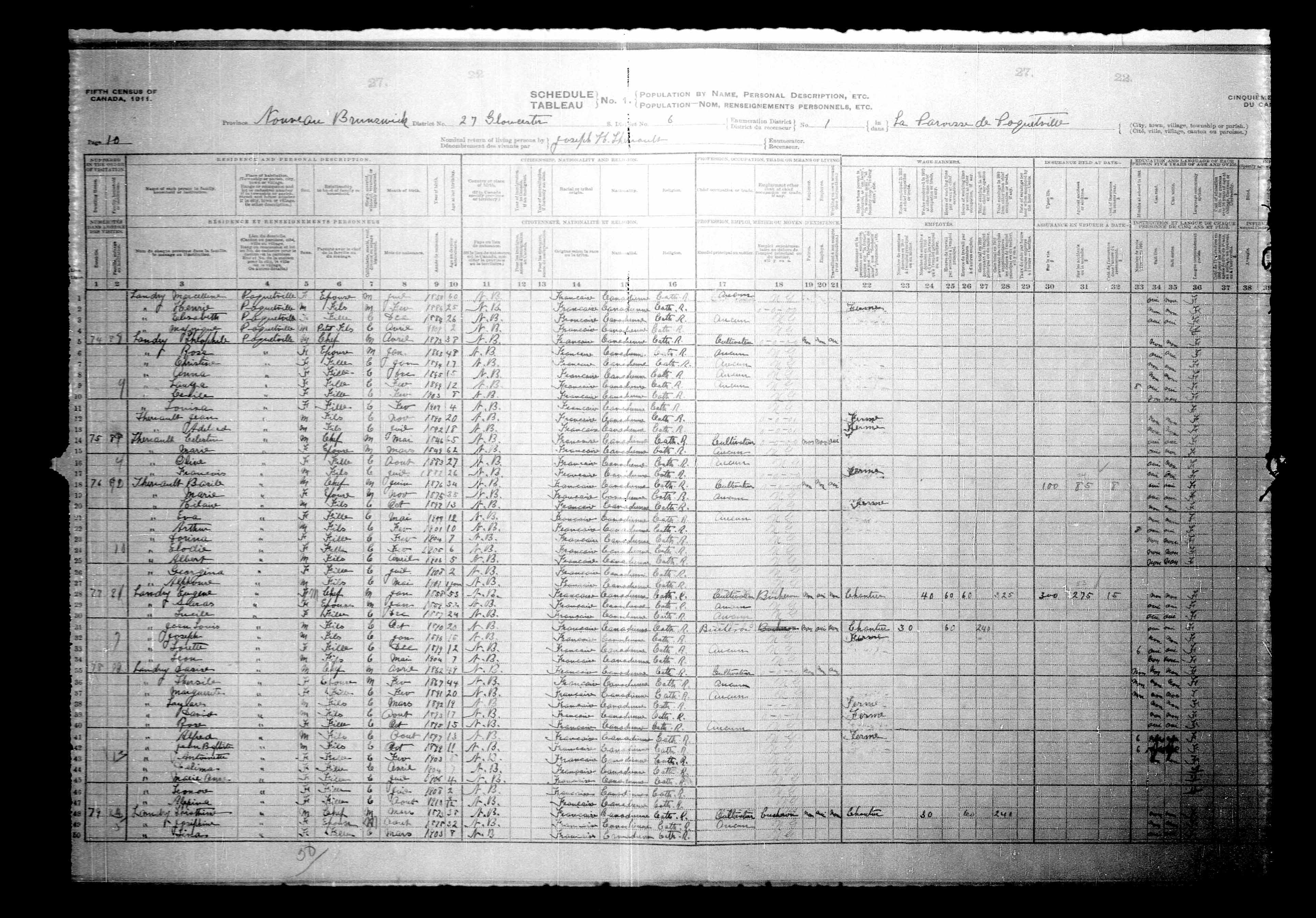 Digitized page of Census of Canada, 1911, Page number 10, for Eugene Landry
