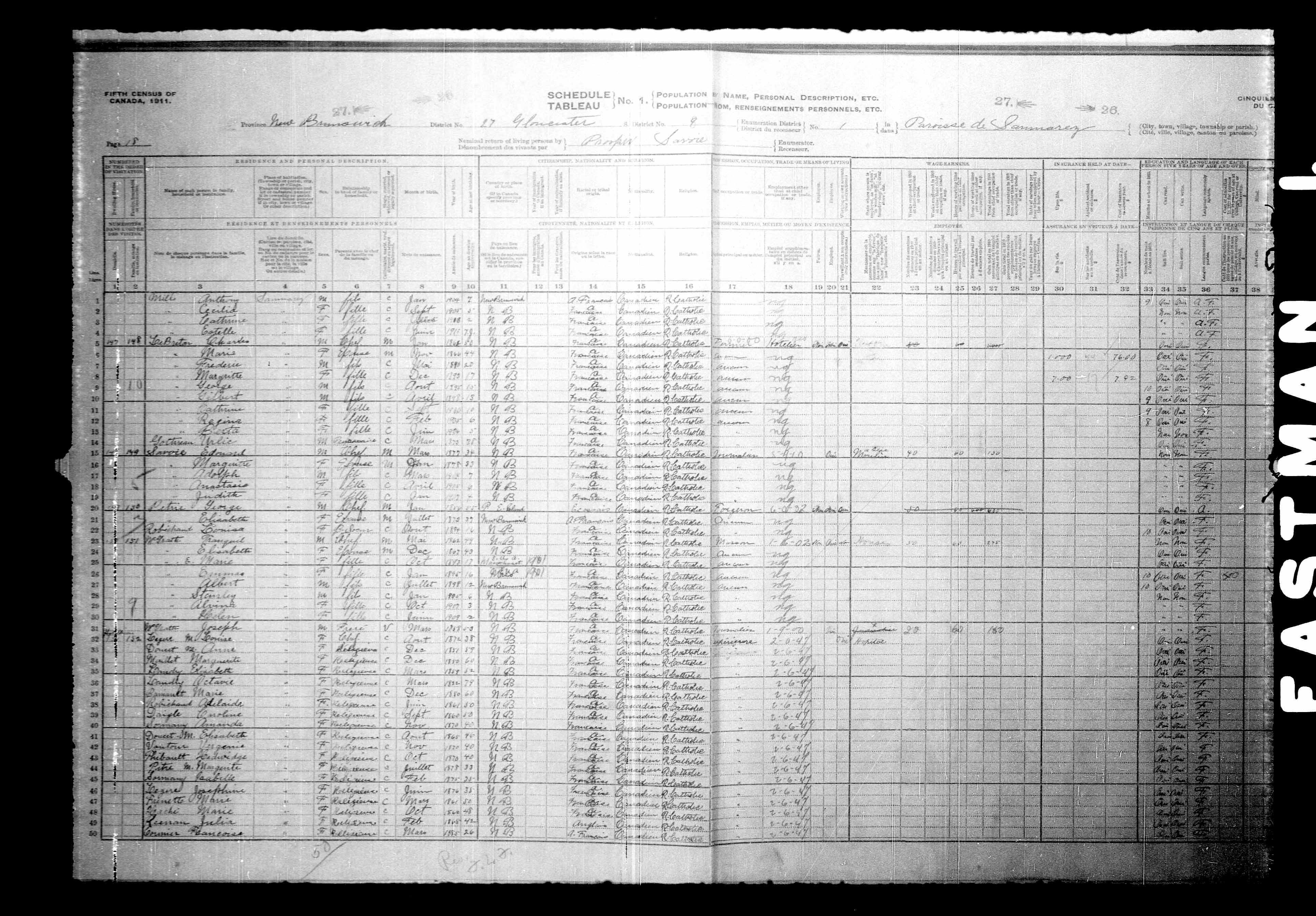 Digitized page of Census of Canada, 1911, Page number 18, for M Louise Cyue